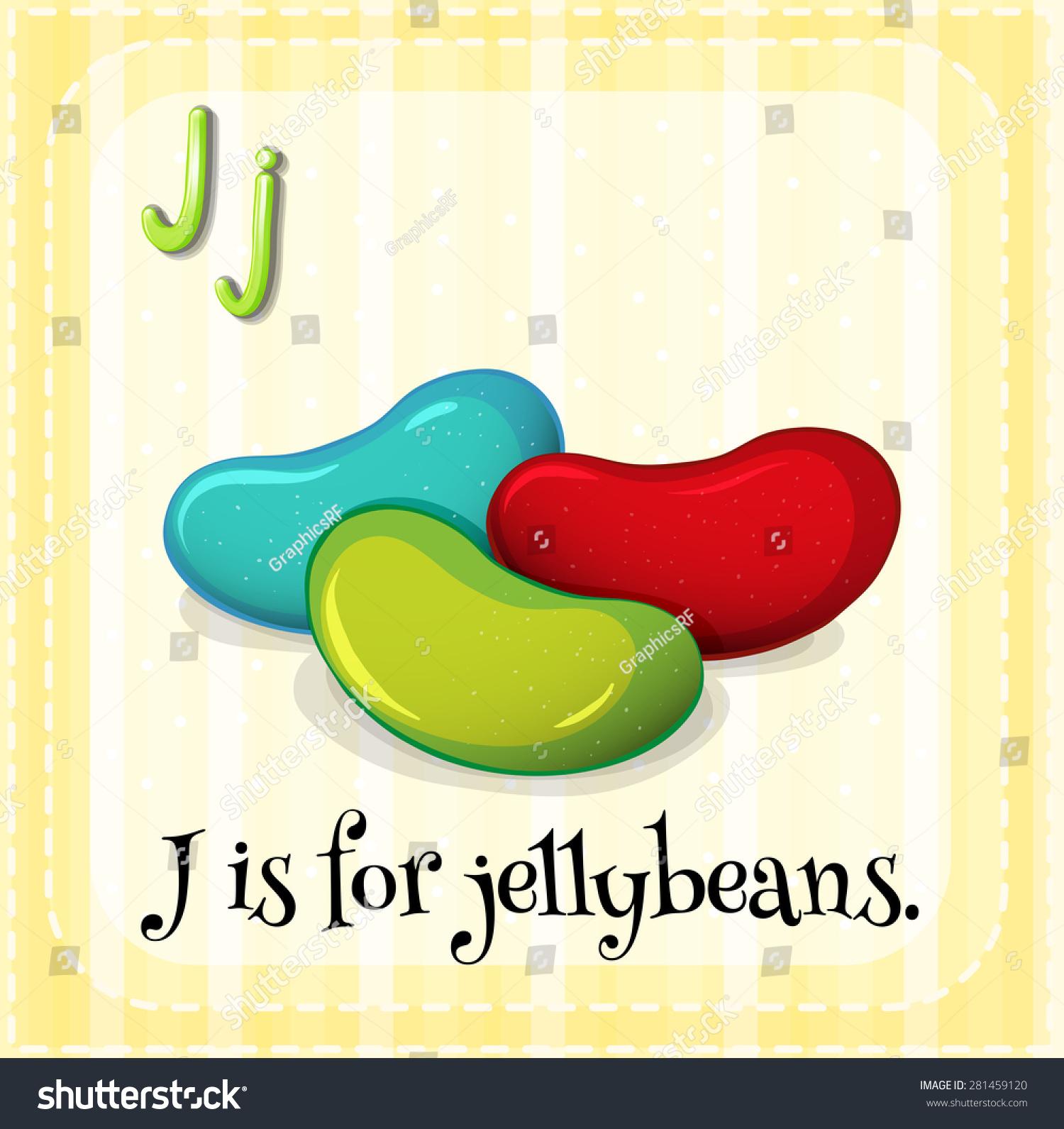 Flashcard Letter J Is For Jellybeans Stock Vector