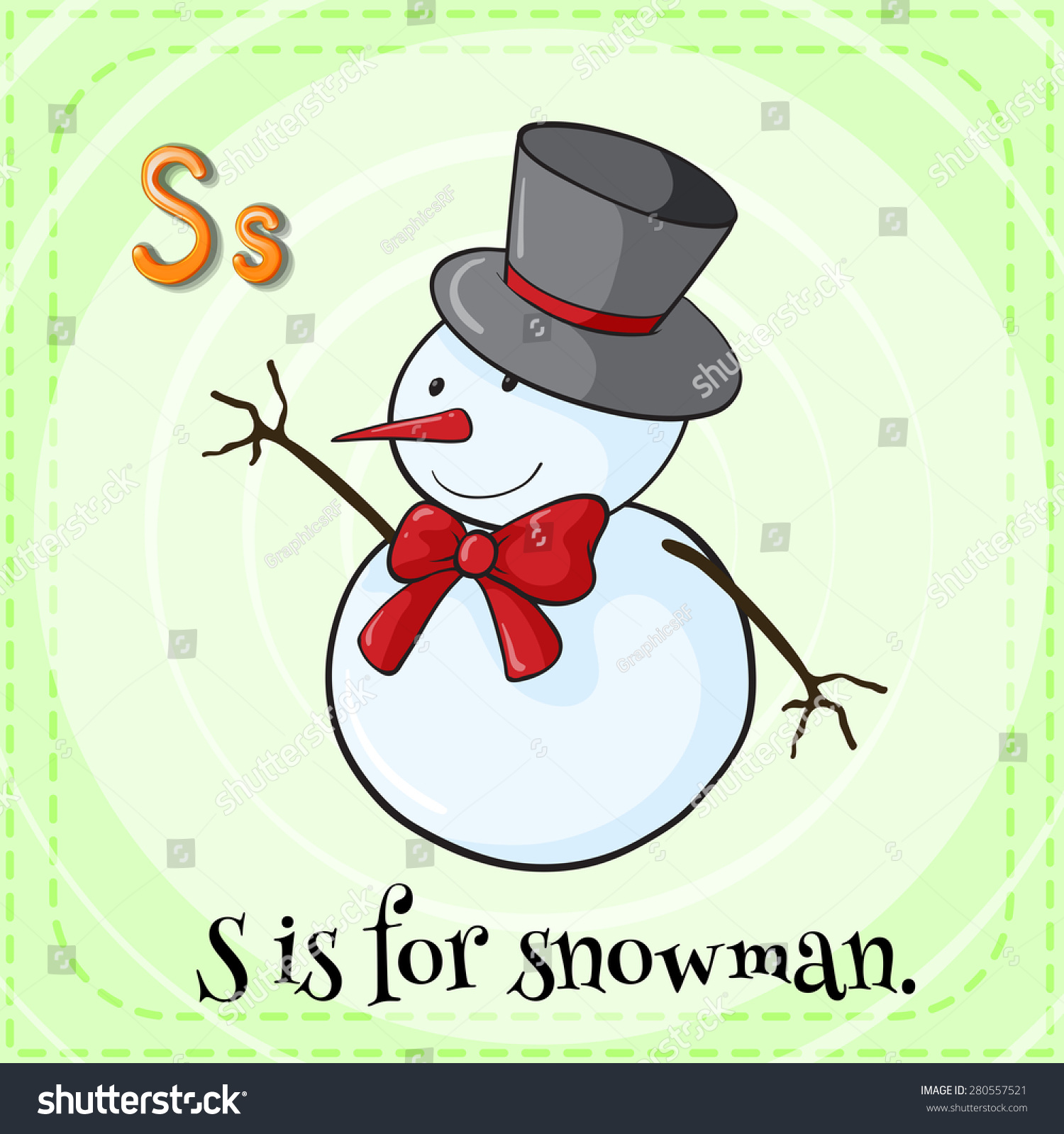 Flashcard Letter S Is For Snowman Stock Vector