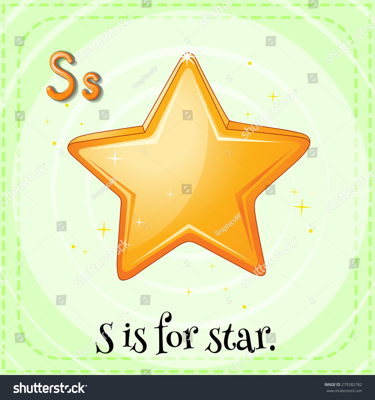 Flashcard Letter S Is For Star Stock Vector Illustration