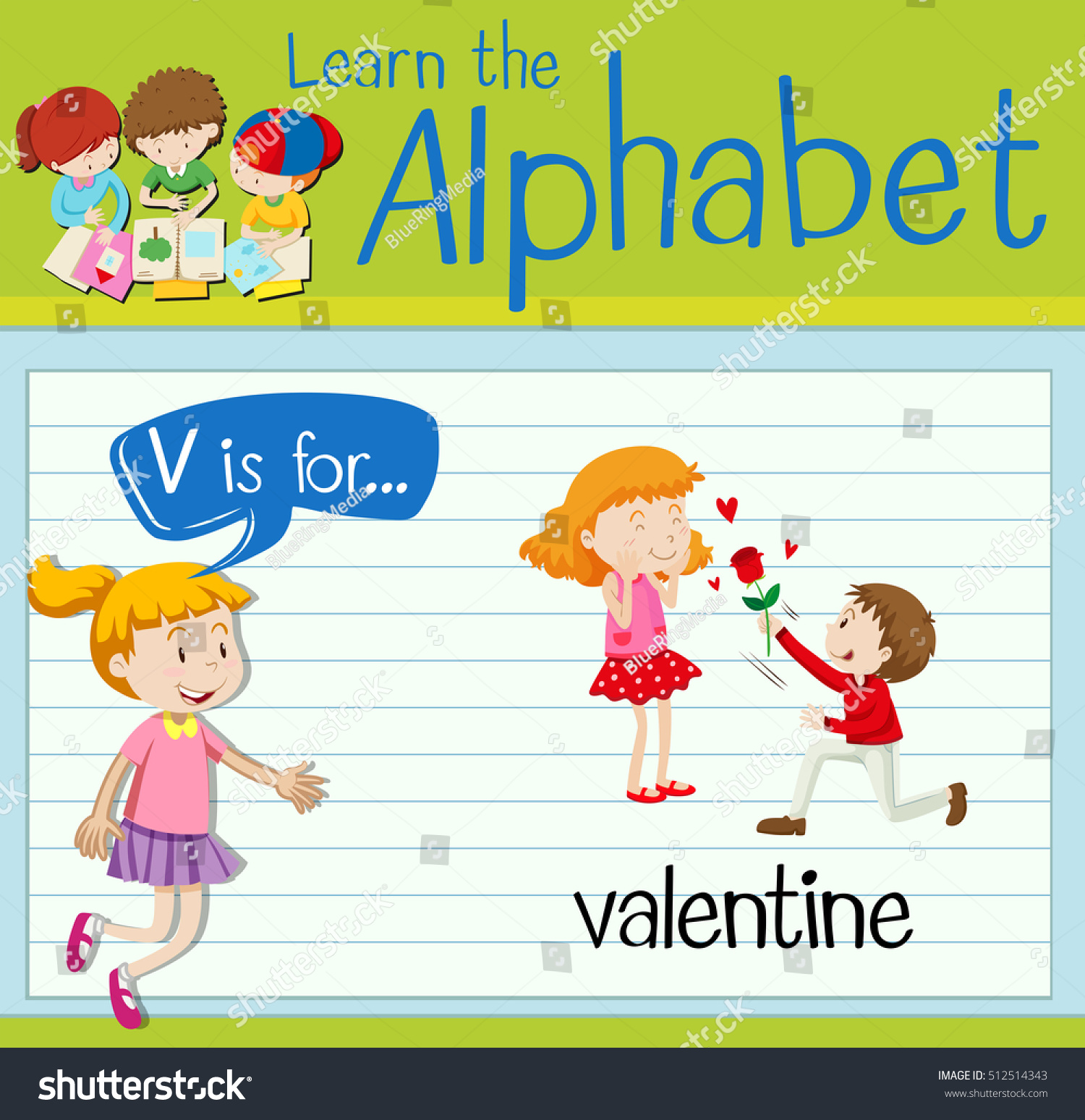Flashcard Letter V Valentine Stock Vector