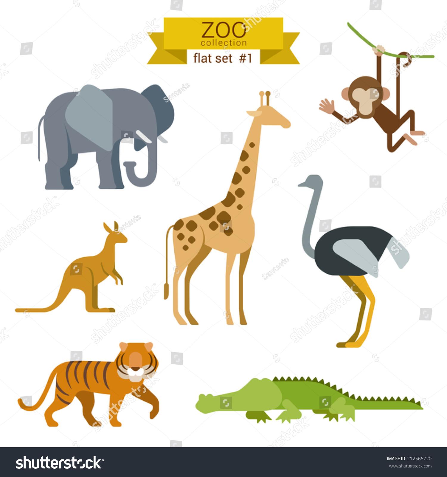 Flat Design Vector Animals Icon Set Stock Vector