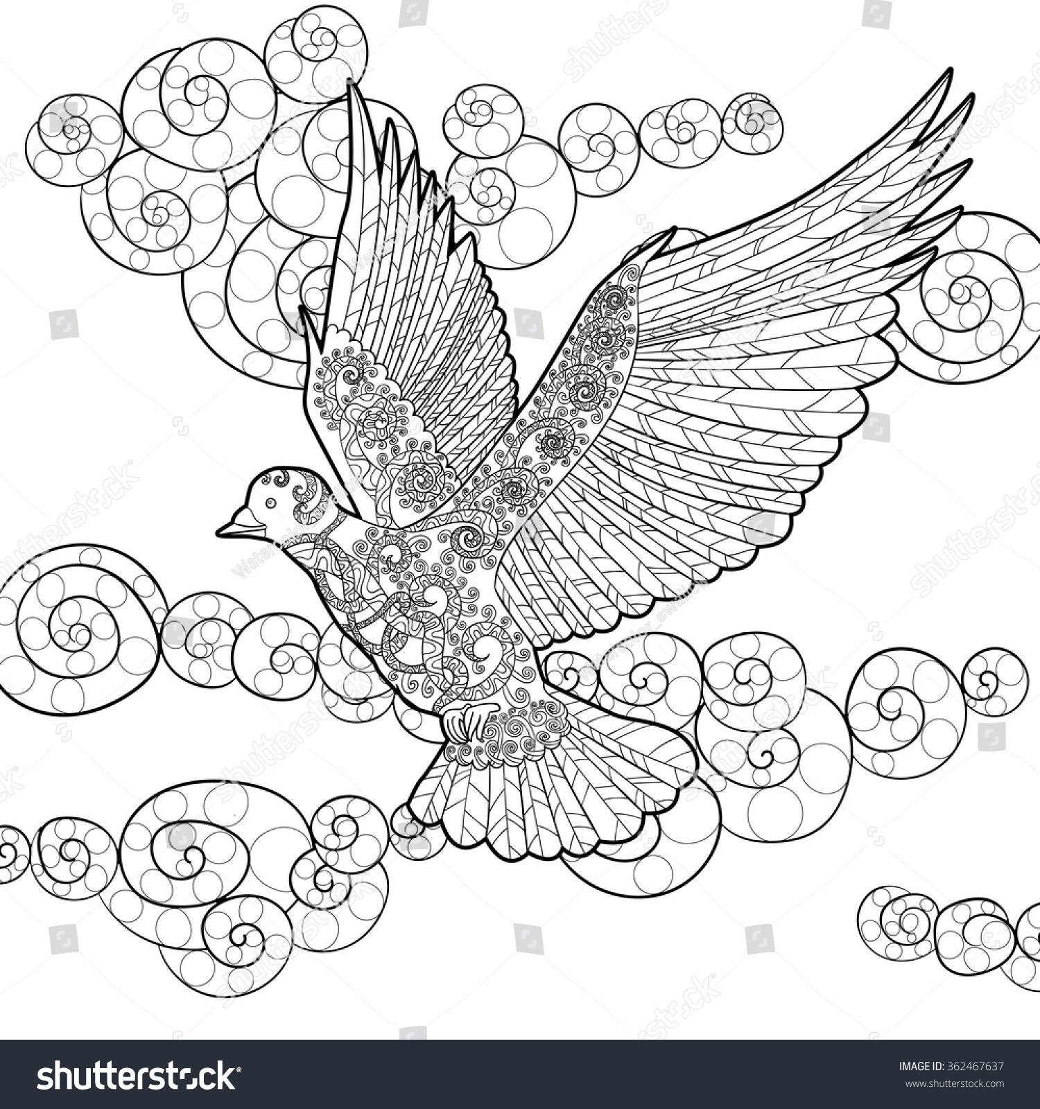 flying dove with high details adult antistress coloring page