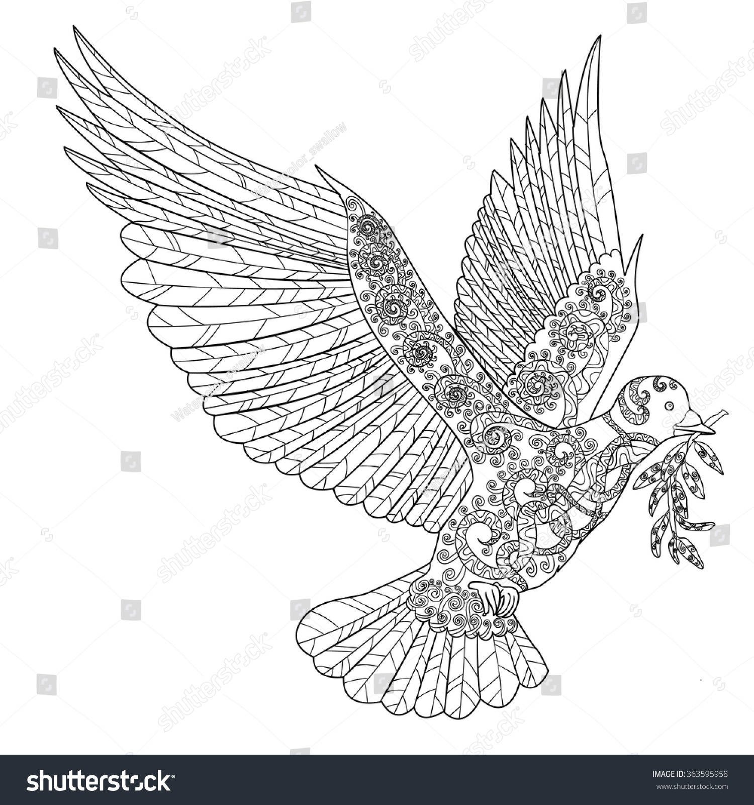 peace dove coloring page tattoo
