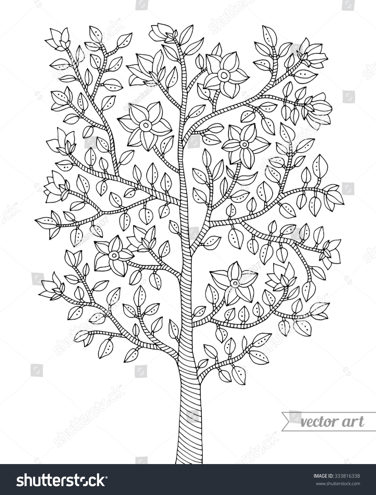 Coloring pages trees and flowers - Forest Tree Bush Flowers Blossom Branch With Leaves Vector