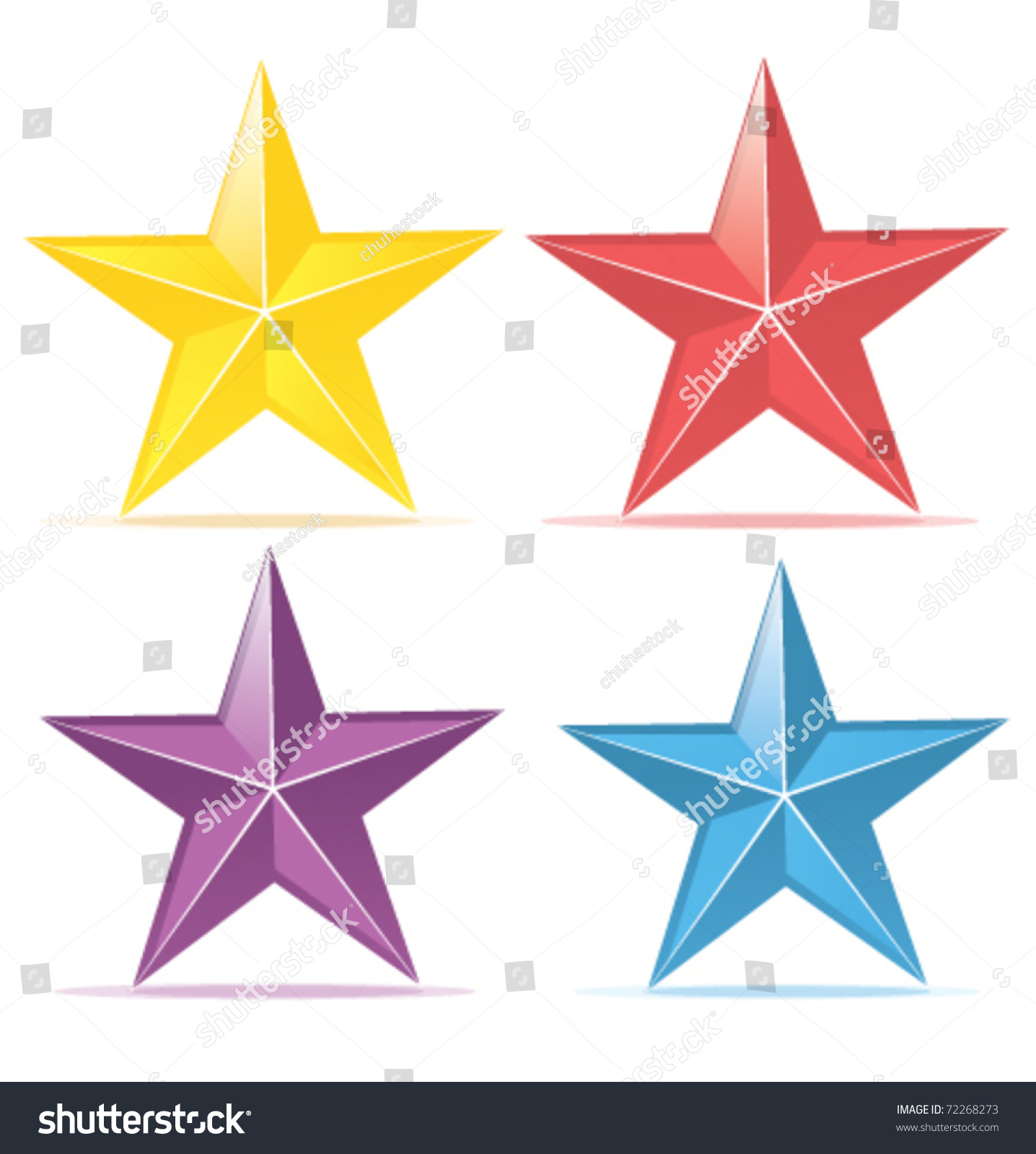 Four Colors Stars Yellow Red Purple Stock Vector