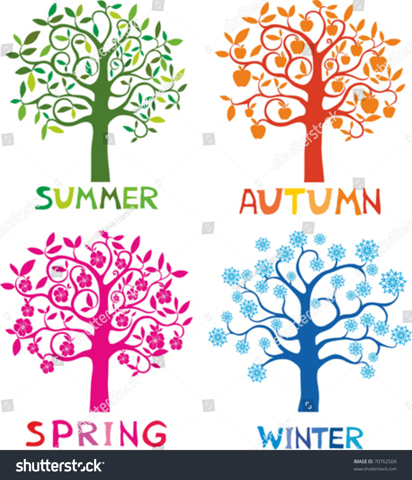 Four Seasons Spring Summer Autumn Winter Stock Vector