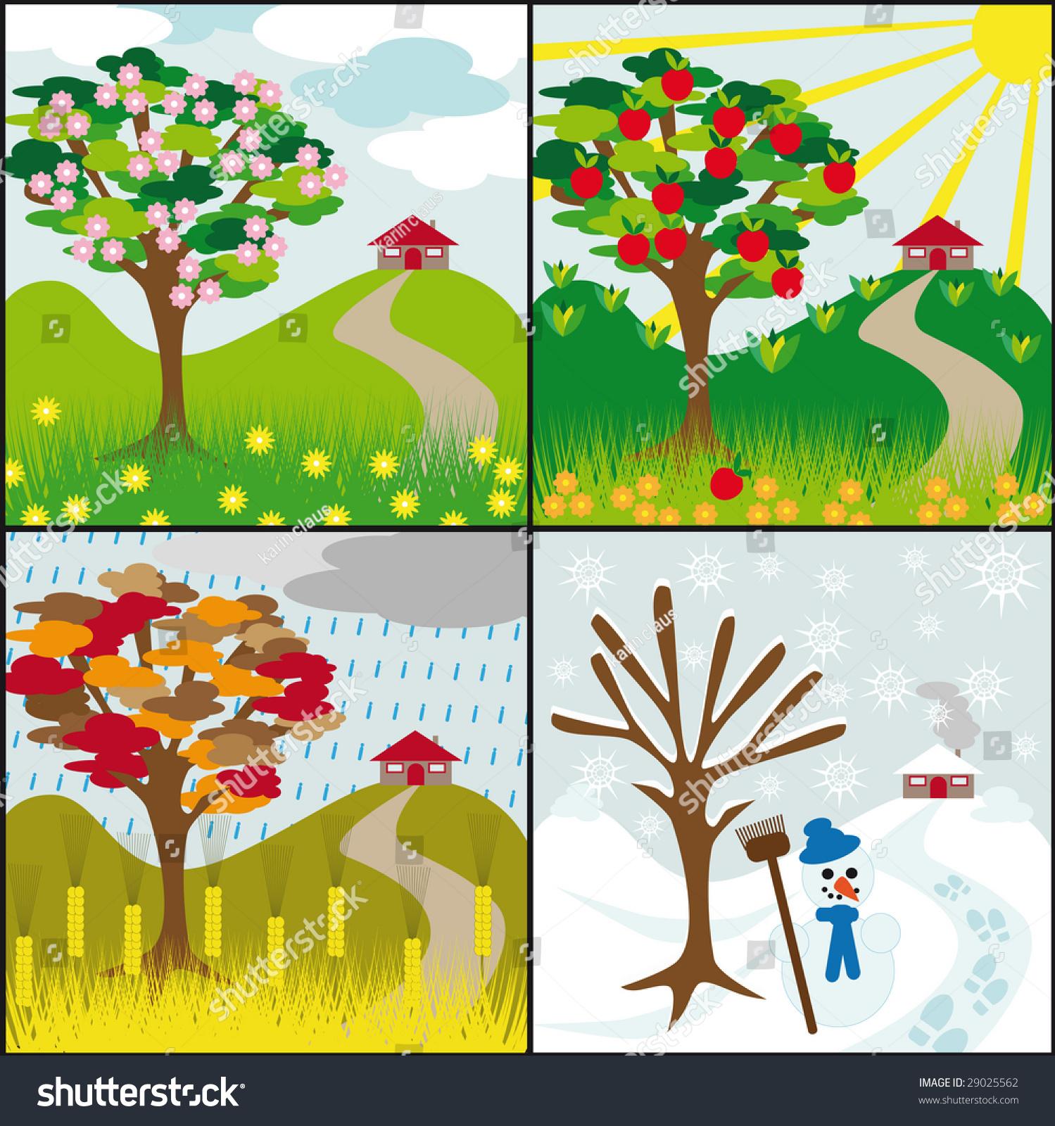 Four Seasons Tree On Hill House Stock Vector
