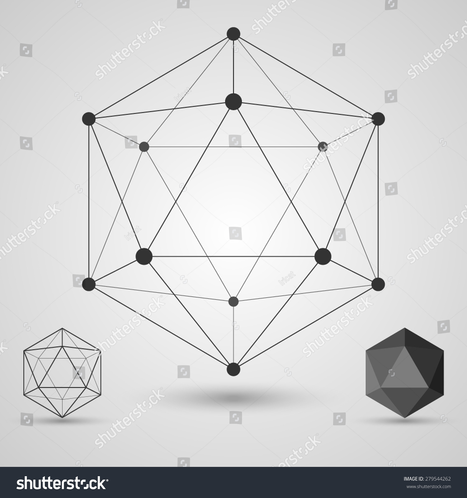 Frame Volumetric Geometric Shapes With Edges And Vertices Geometric Scientific Concept Vector