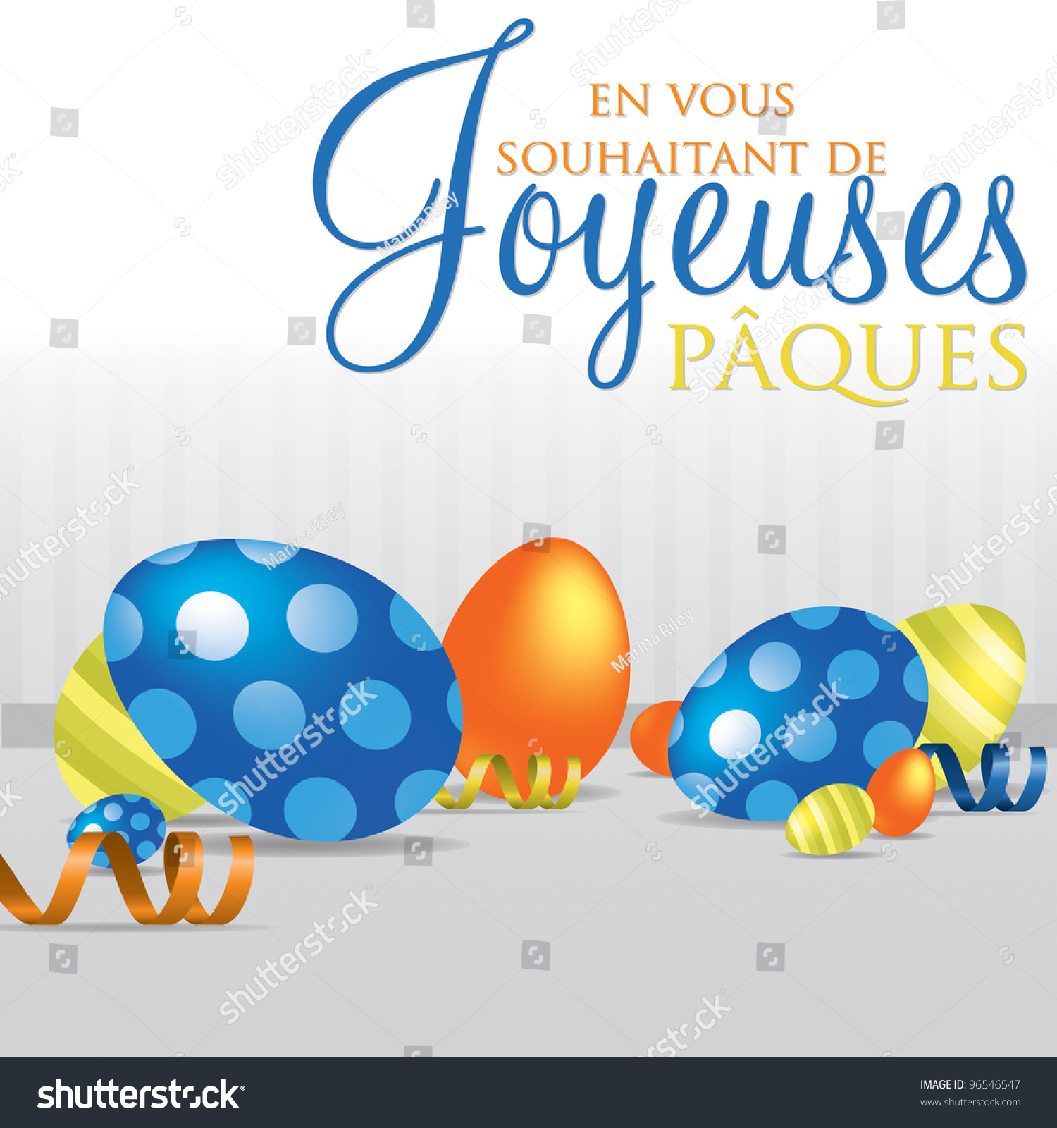 French Wishing You A Happy Easter Scattered Egg Cards In