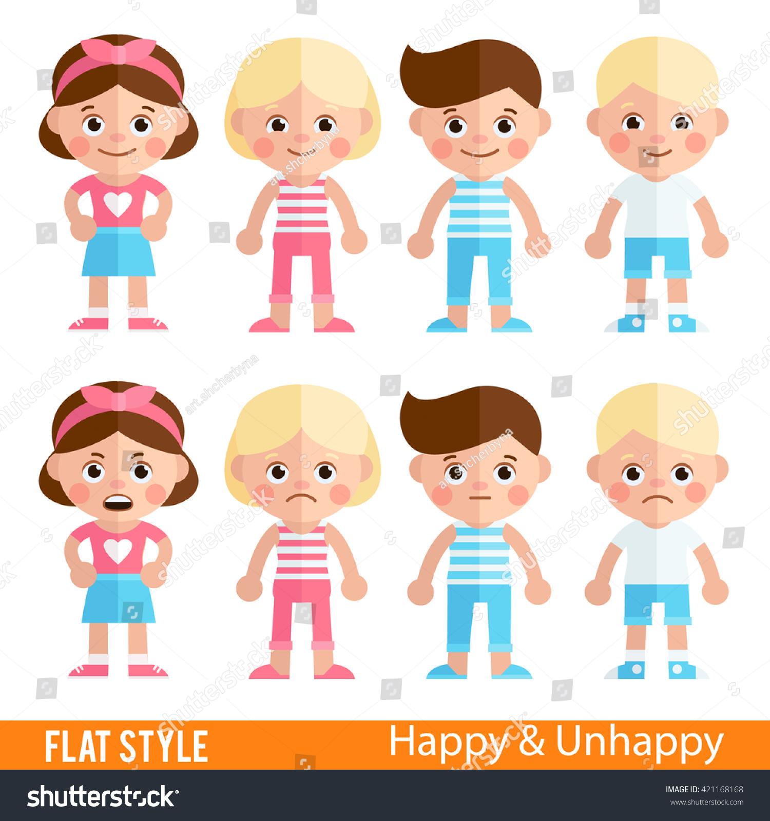 Funny Sad Kids Unhappy Kids Happy Stock Vector