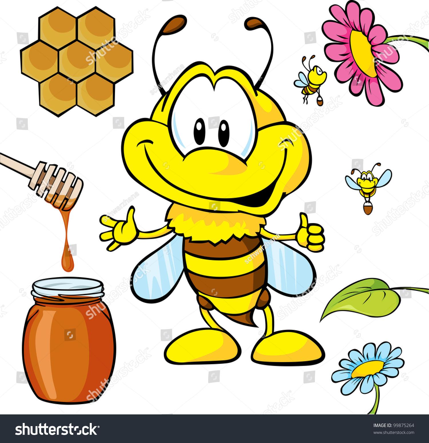Funny Bee Cartoon Honey Spoon Honeycomb Stock Vector