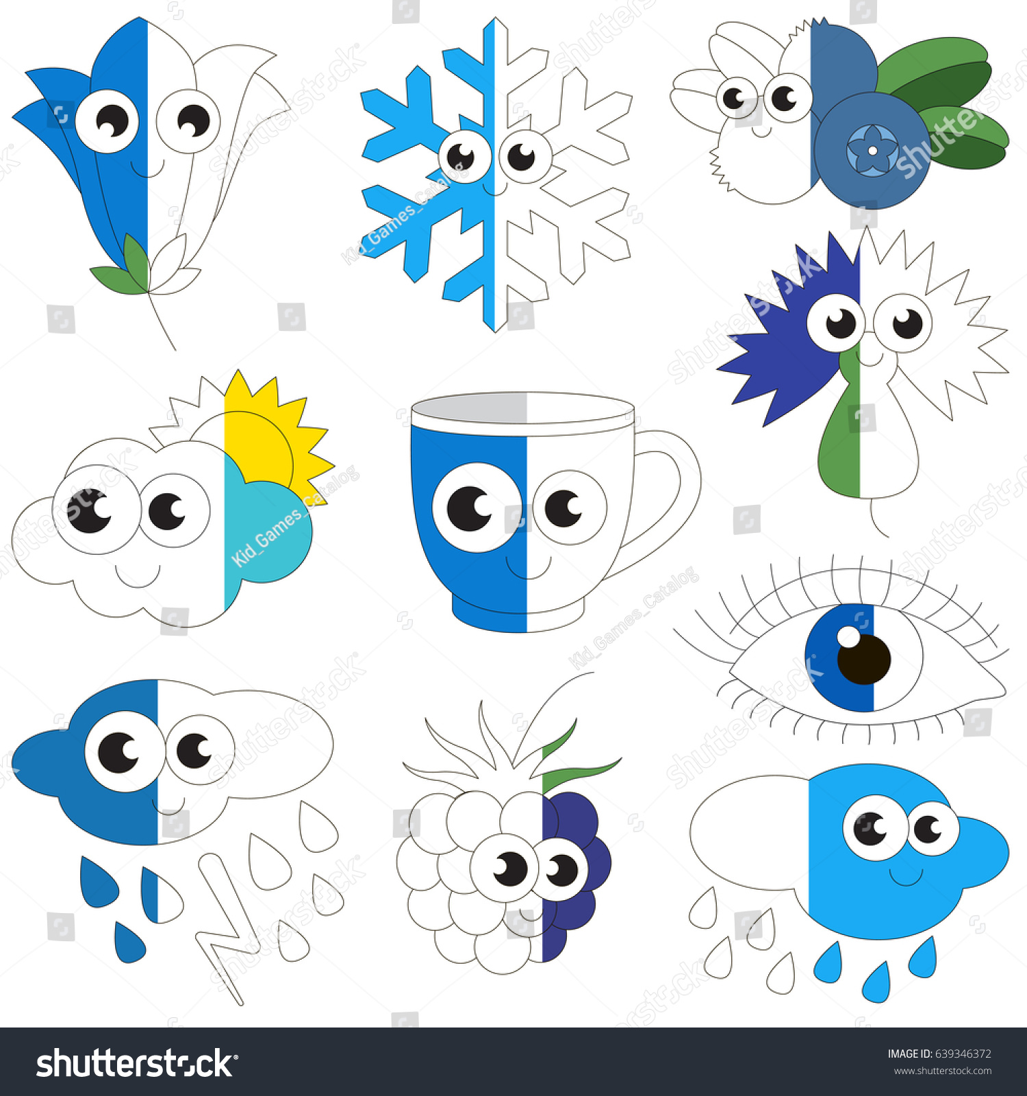 Funny Blue Color Objects Big Collection Stock Vector