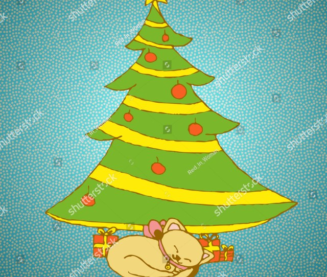 Funny Christmas Hand Drawing Isolated Little Kitten With A Pink Bow On Her Neck