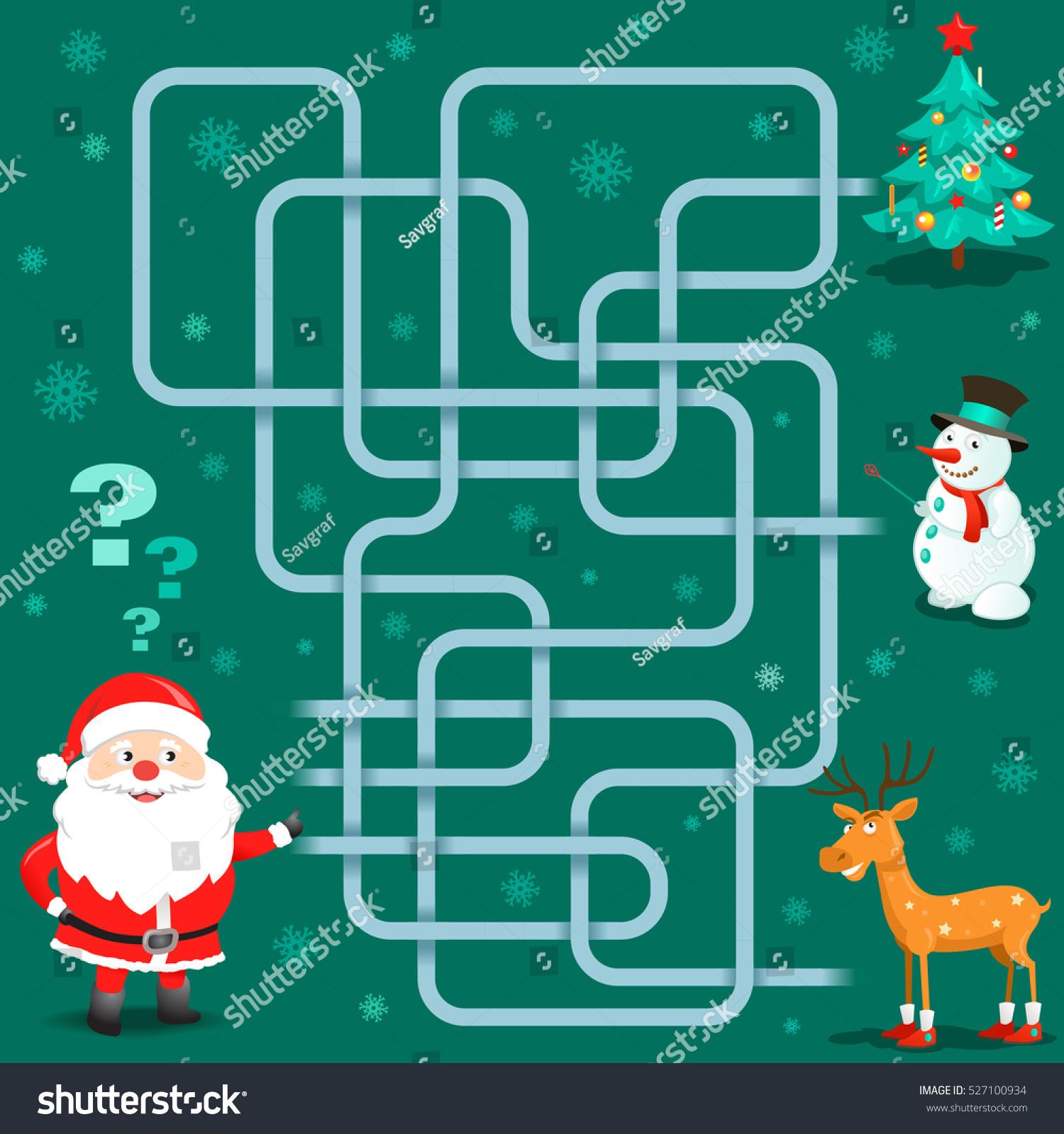 Funny Christmas Maze Game Santa Claus Stock Vector