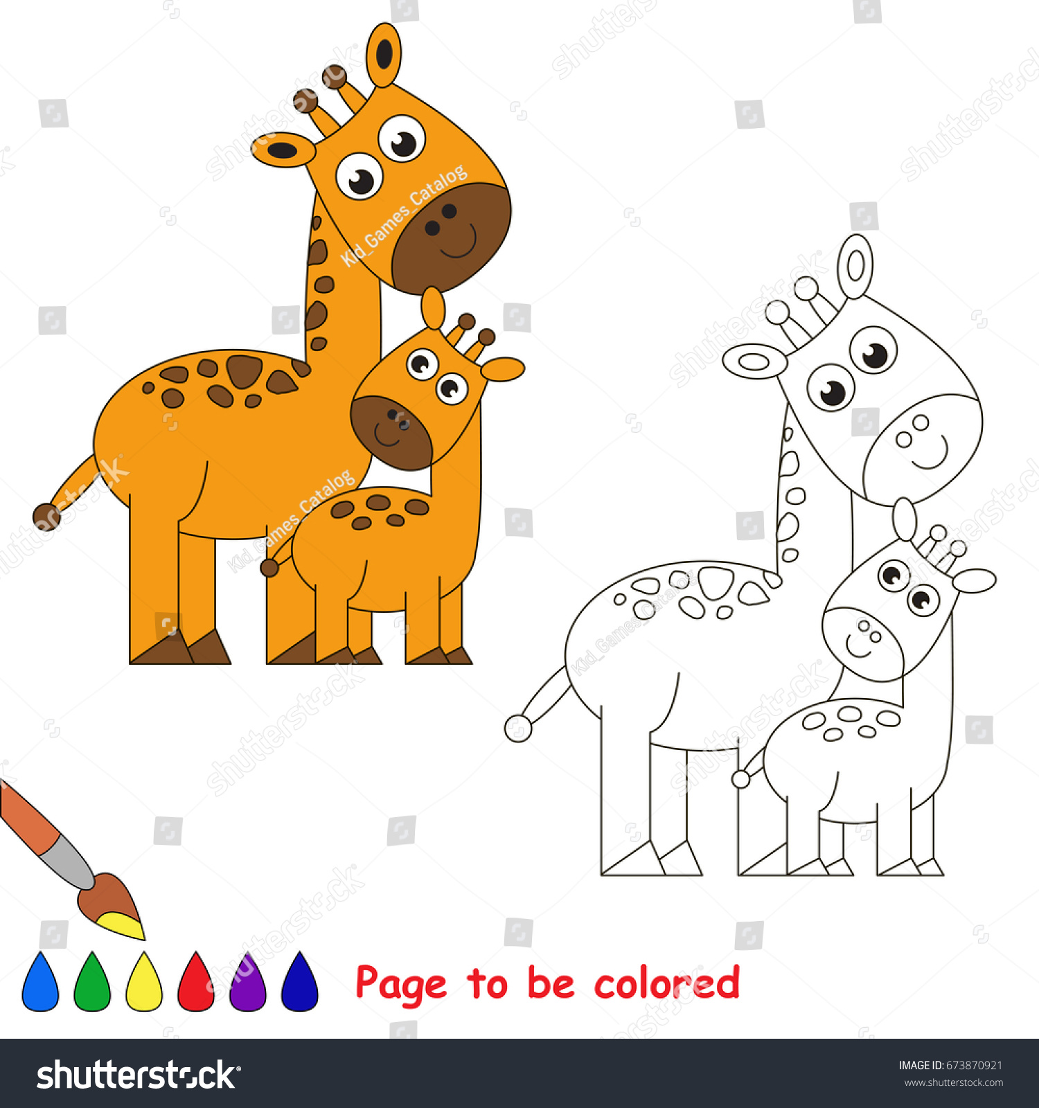 Funny Giraffe Mother Be Colored Coloring Stock Vector