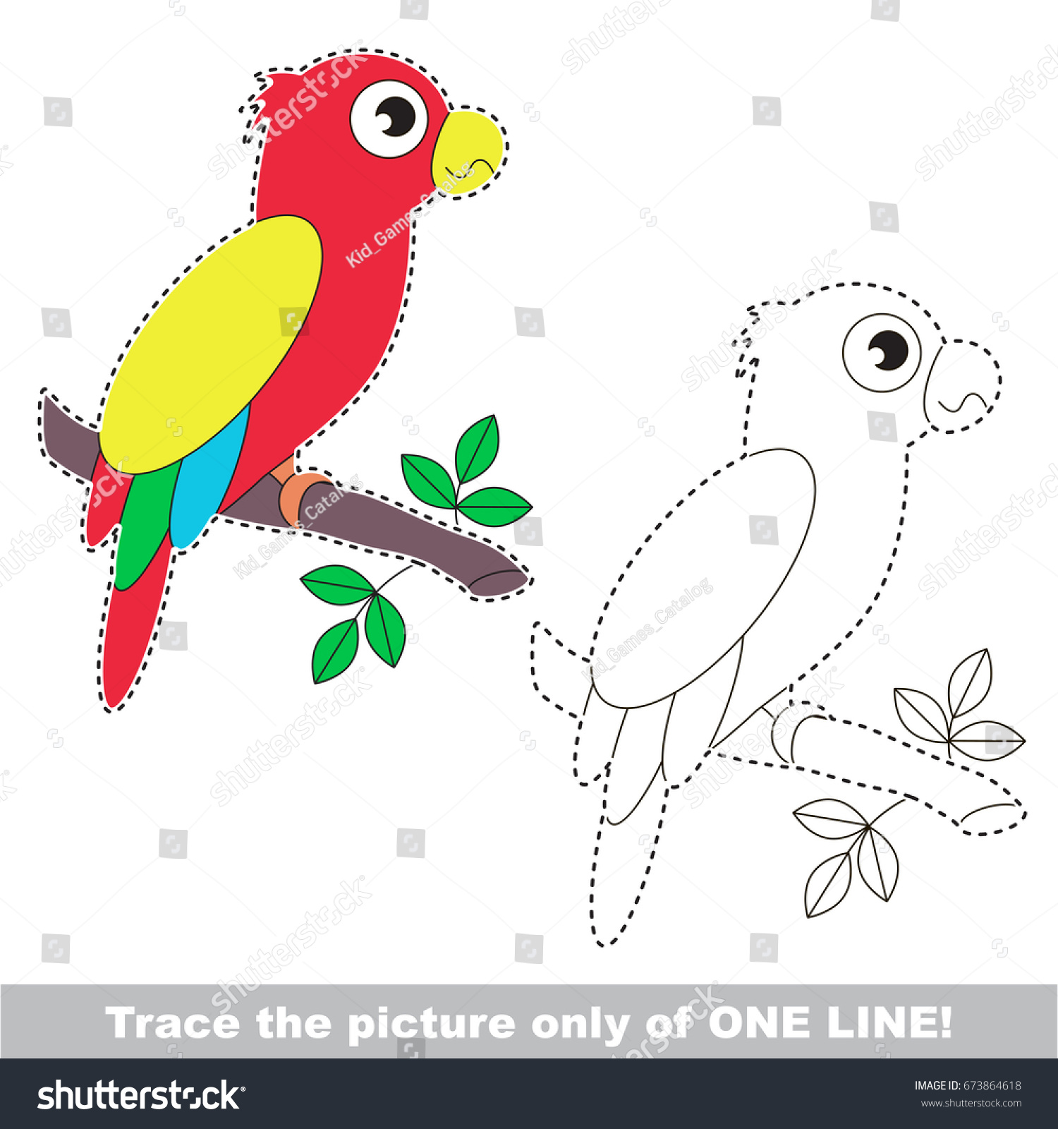 Funny Parrot Be Traced Only One Stock Vector