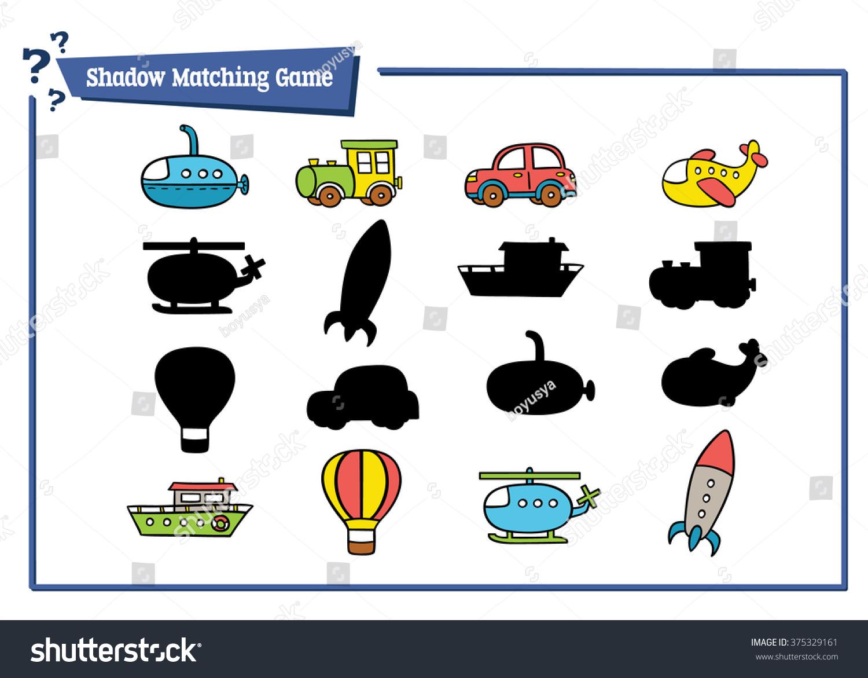 Funny Transportation Shadow Game Vector Illustration Of