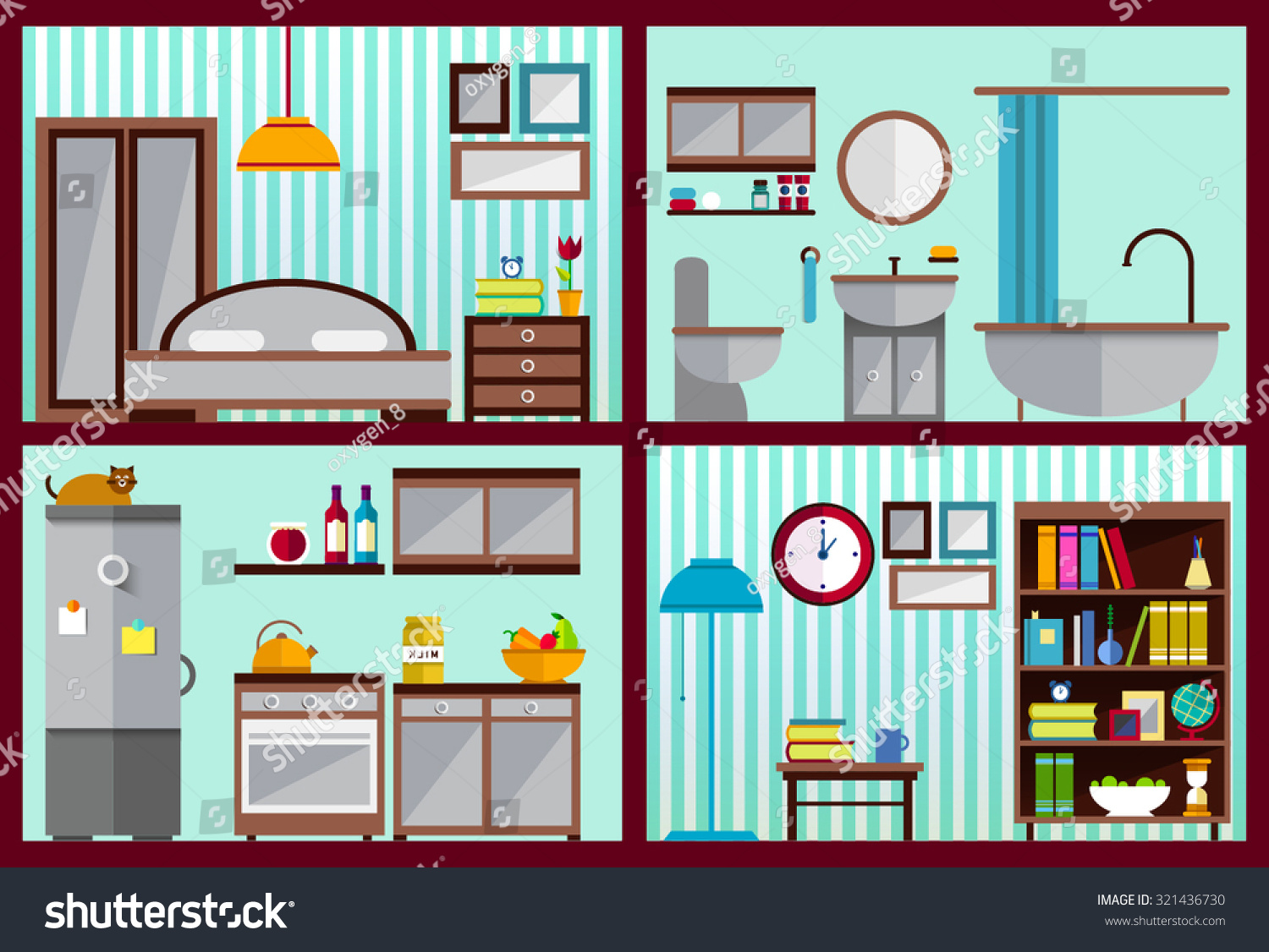 Furniture Set Rooms House Kitchen Living Stock Vector