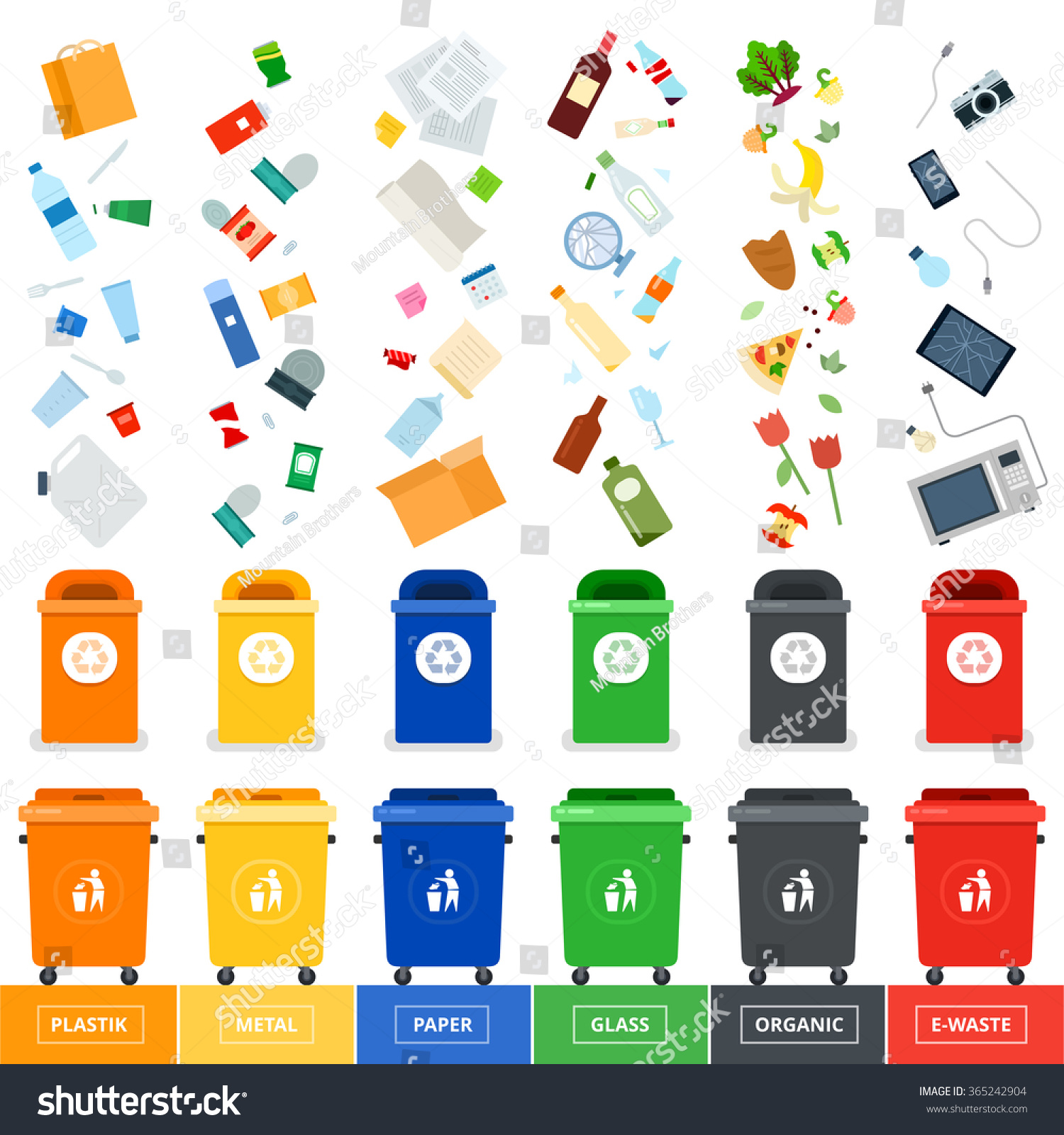 Garbage Cans Vector Flat Illustrations Many Stock Vector