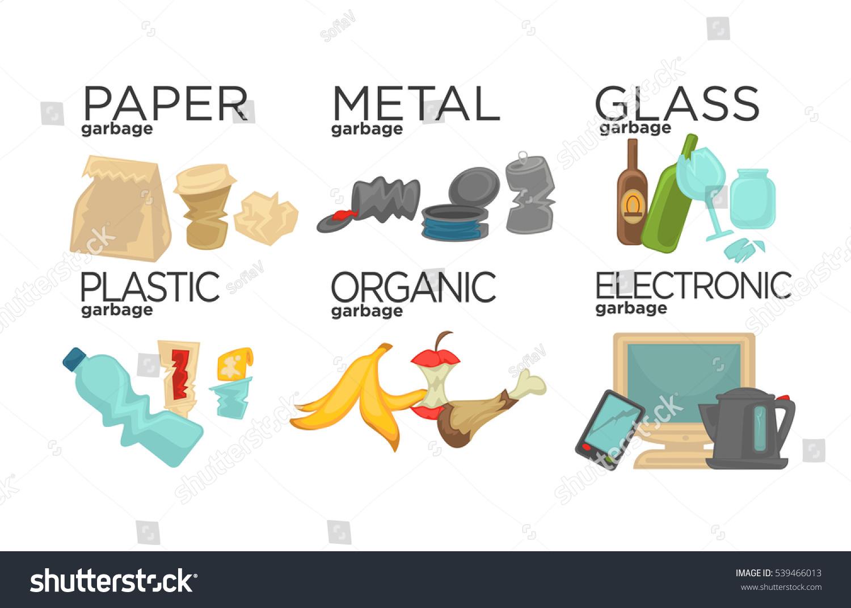 Garbage Sorting Food Waste Glass Metal Stock Vector