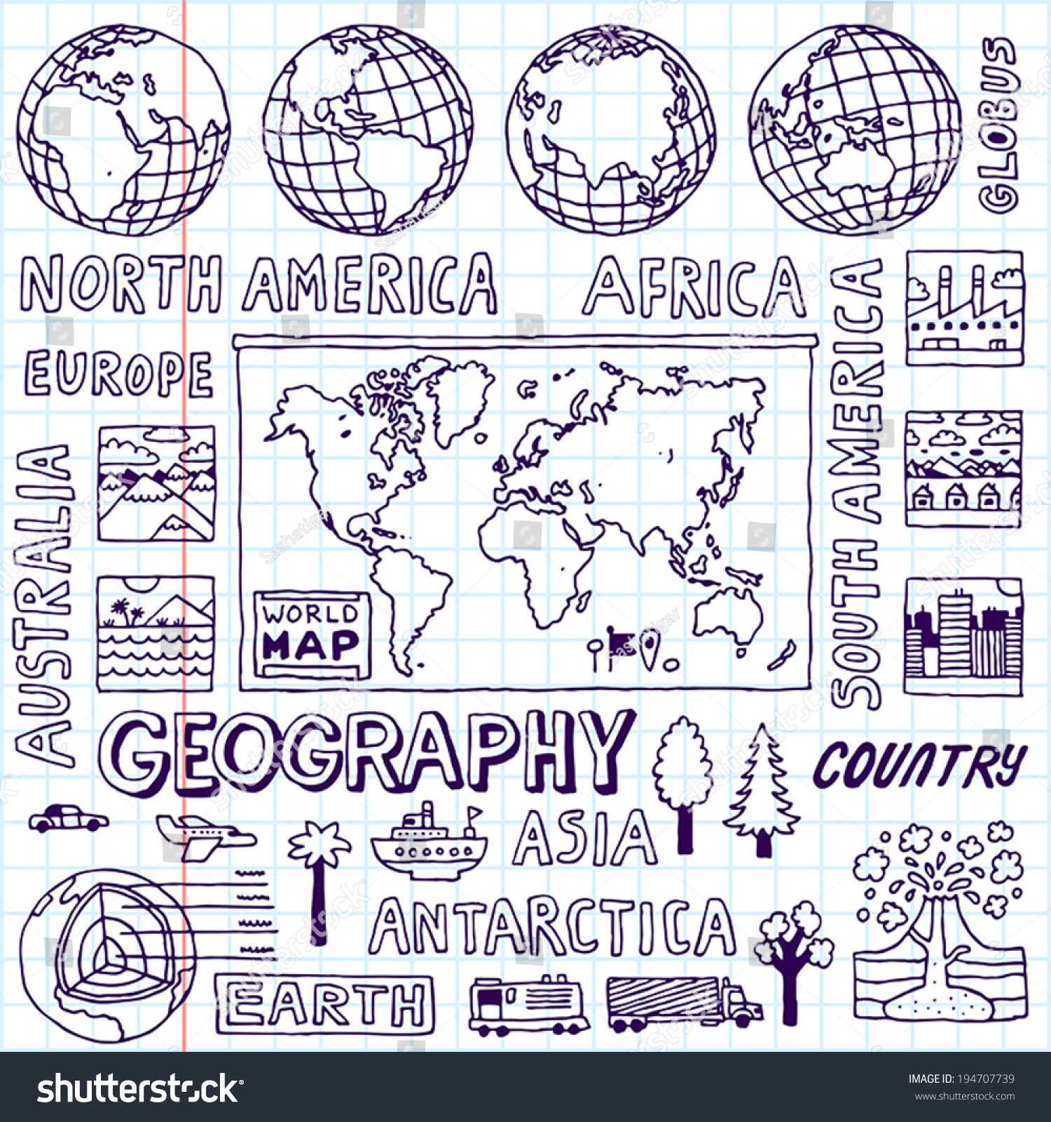 Geography Hand Drawn Vector Illustration School