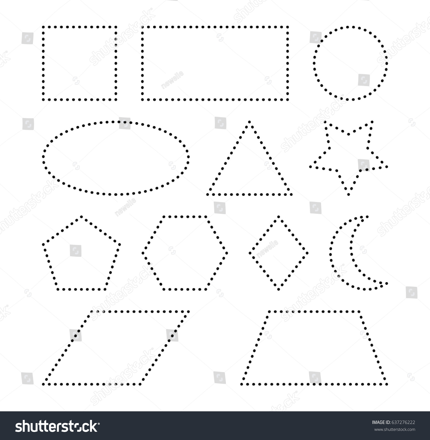 Picture Tracing Shapes Circle Star Triangle Square T