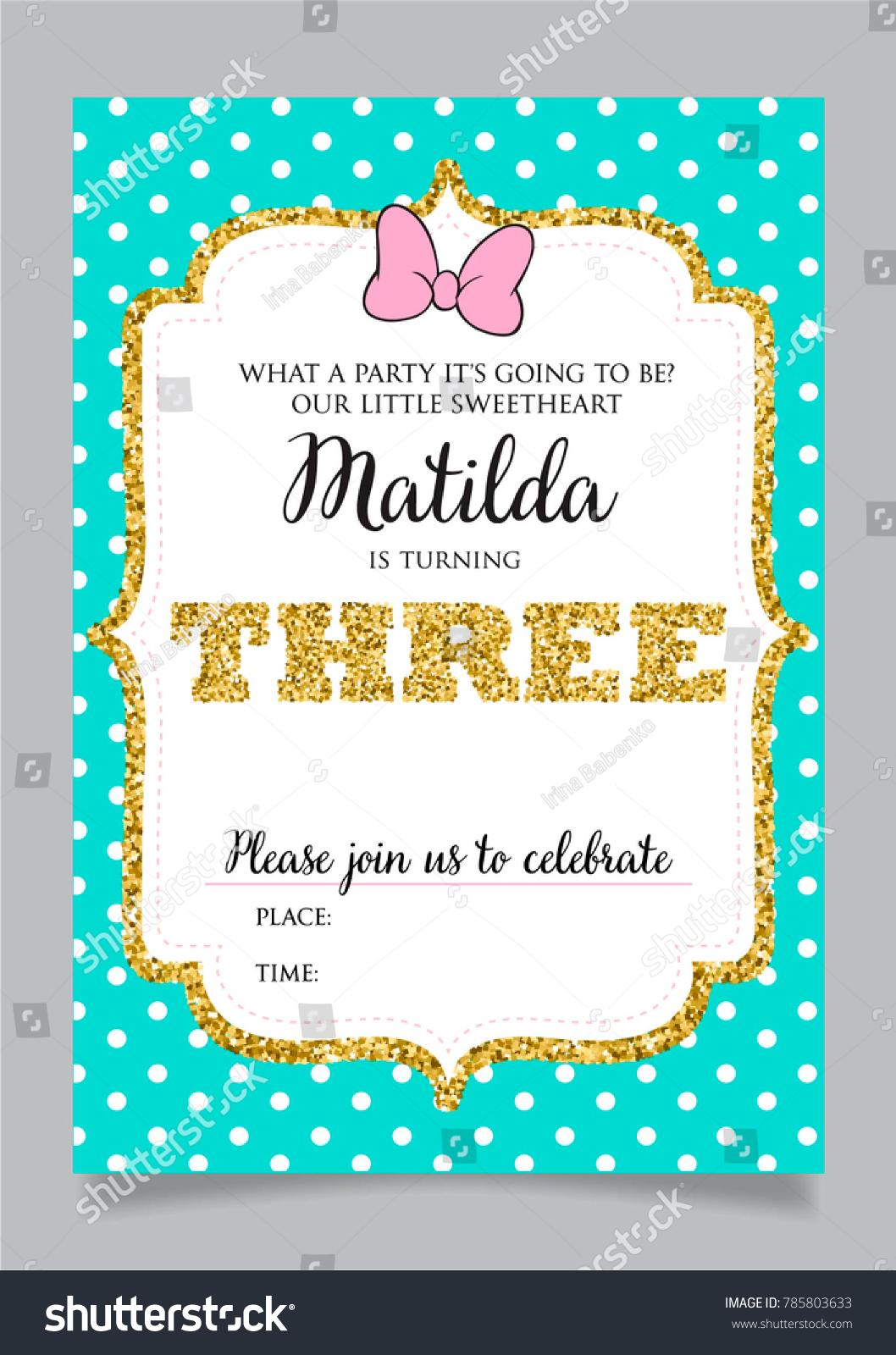 https www shutterstock com image vector girls third birthday invitation three years 785803633
