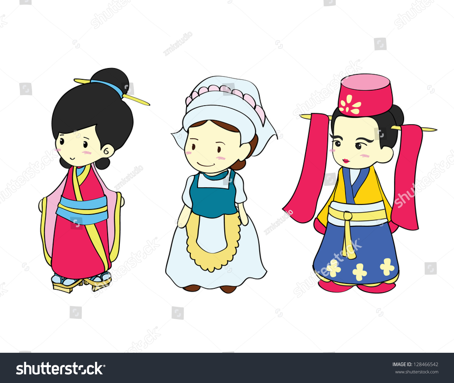 Girls In Traditional Costume Of Asian Country Cartoon