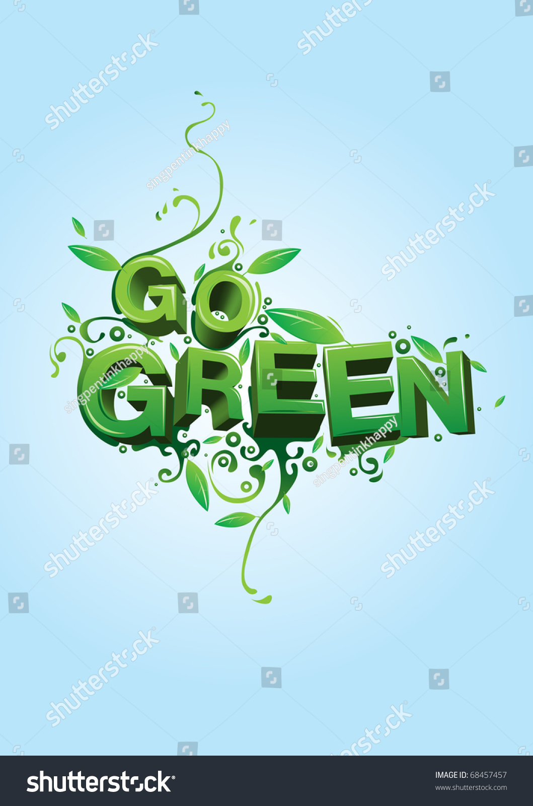Go Green Campaign Poster Stock Vector Illustration