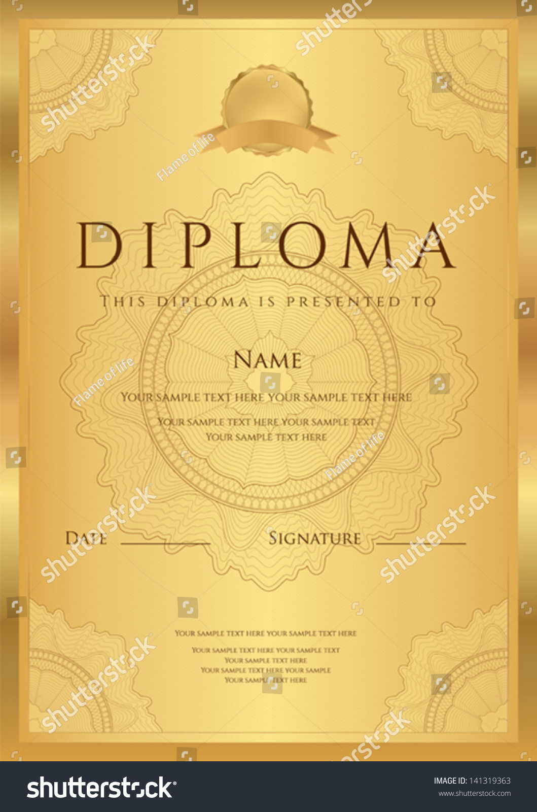 Gold Diploma Of Completion Template Or Sample Blank Background With Guilloche Pattern