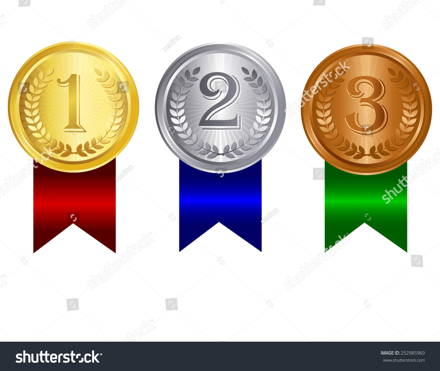 Gold Silver Bronze Medals 1st 2nd Stock Vector