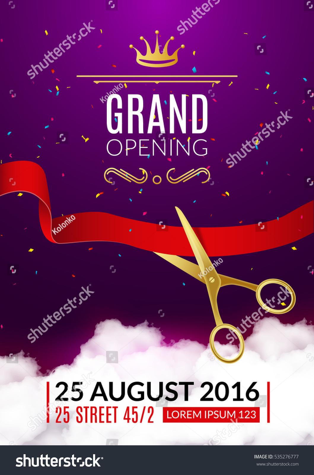 https www shutterstock com de image vector grand opening invitation card event flyer 535276777