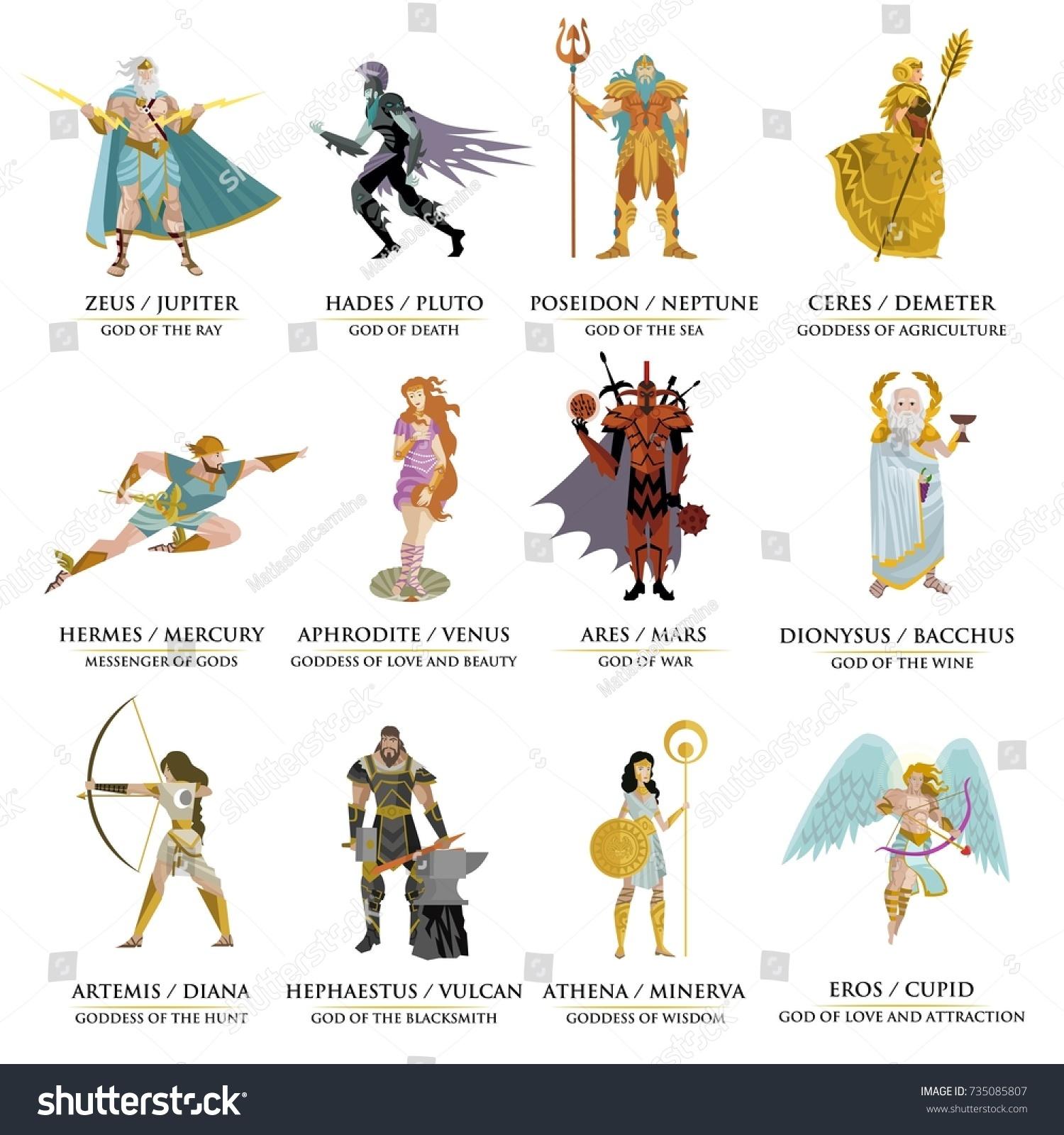 Greek Roman Gods Collection Stock Vector