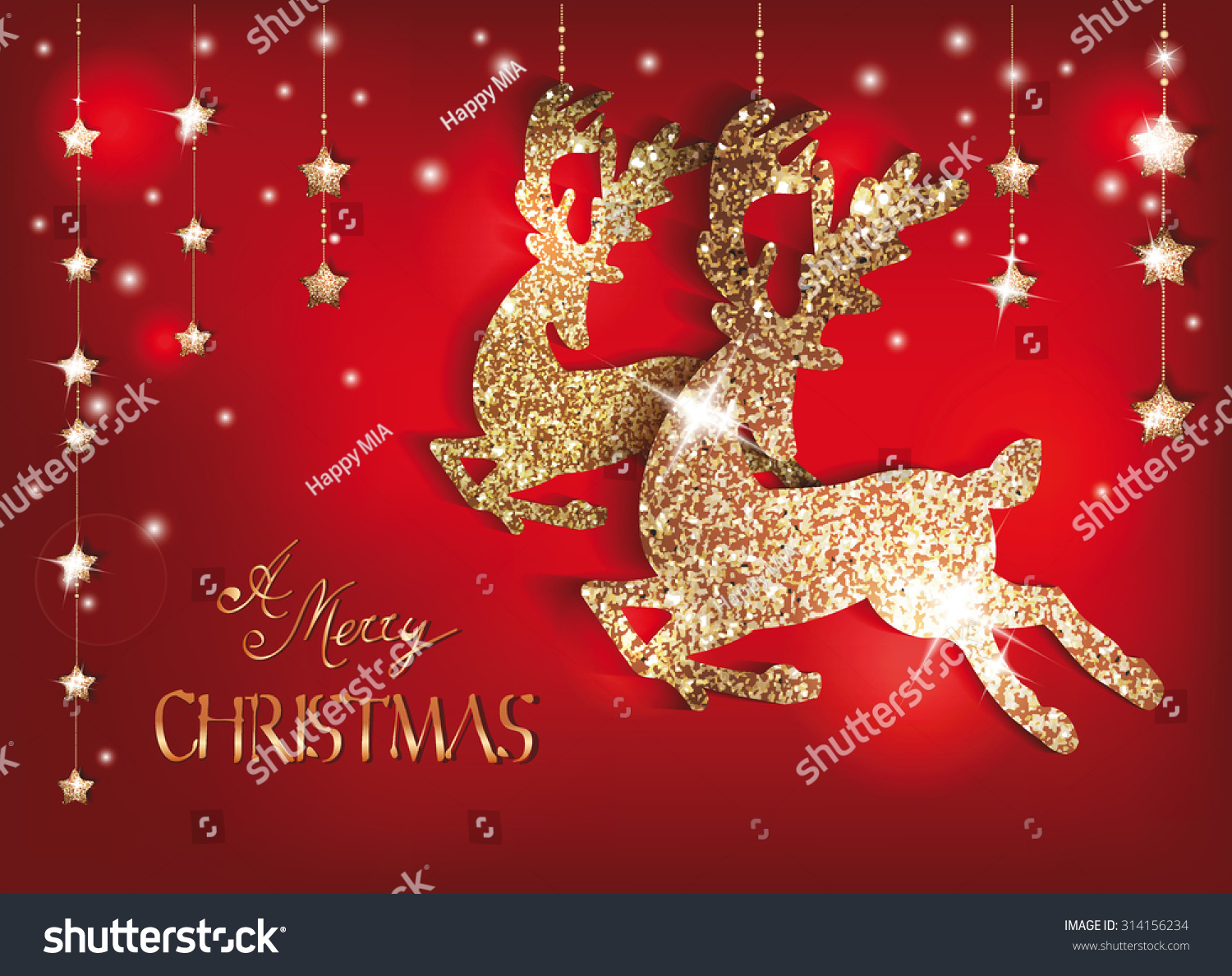 Greeting Card Gold Shiny Deers Christmas Stock Vector
