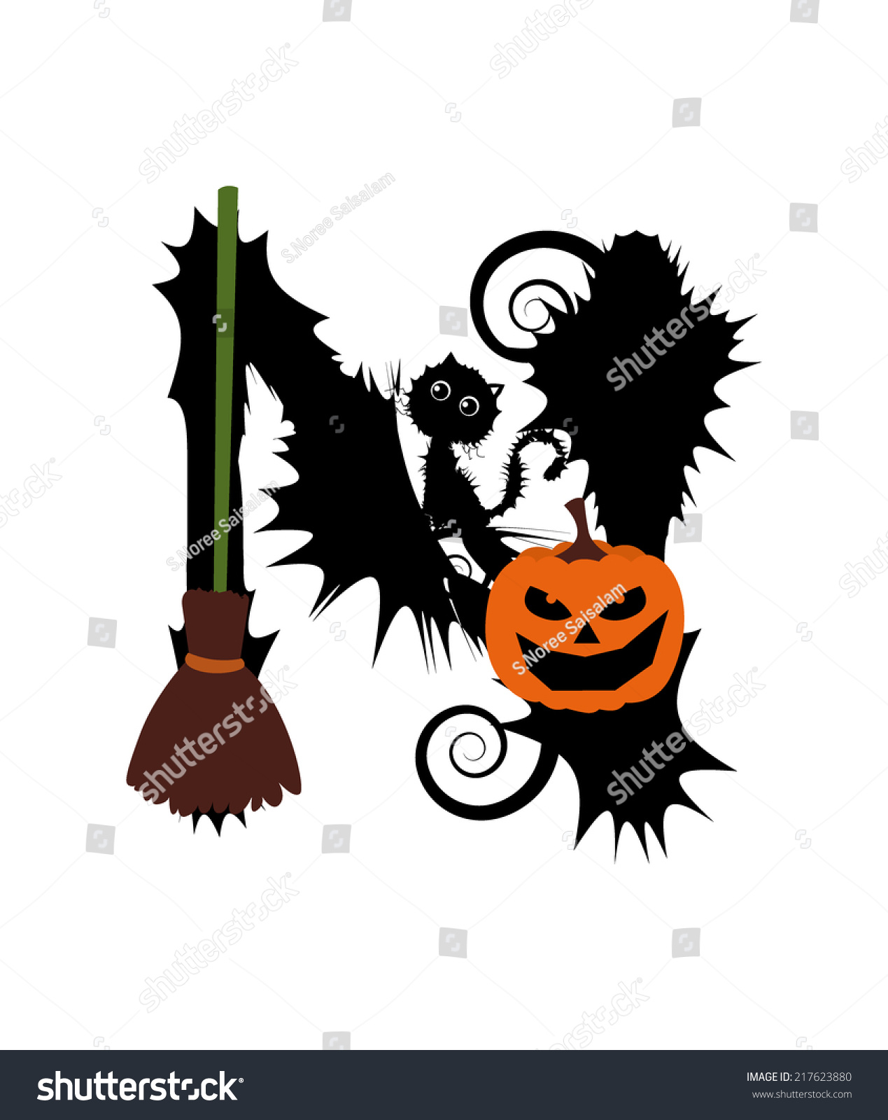 Halloween Alphabet Set Letters Pumpkin On Stock Vector