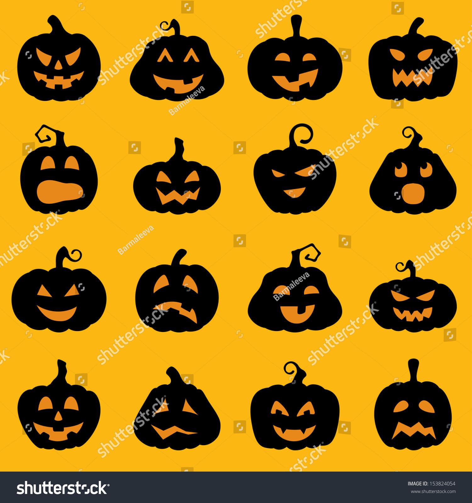 Halloween Decoration Jackolantern Silhouette Set Pumpkins Stock Vector