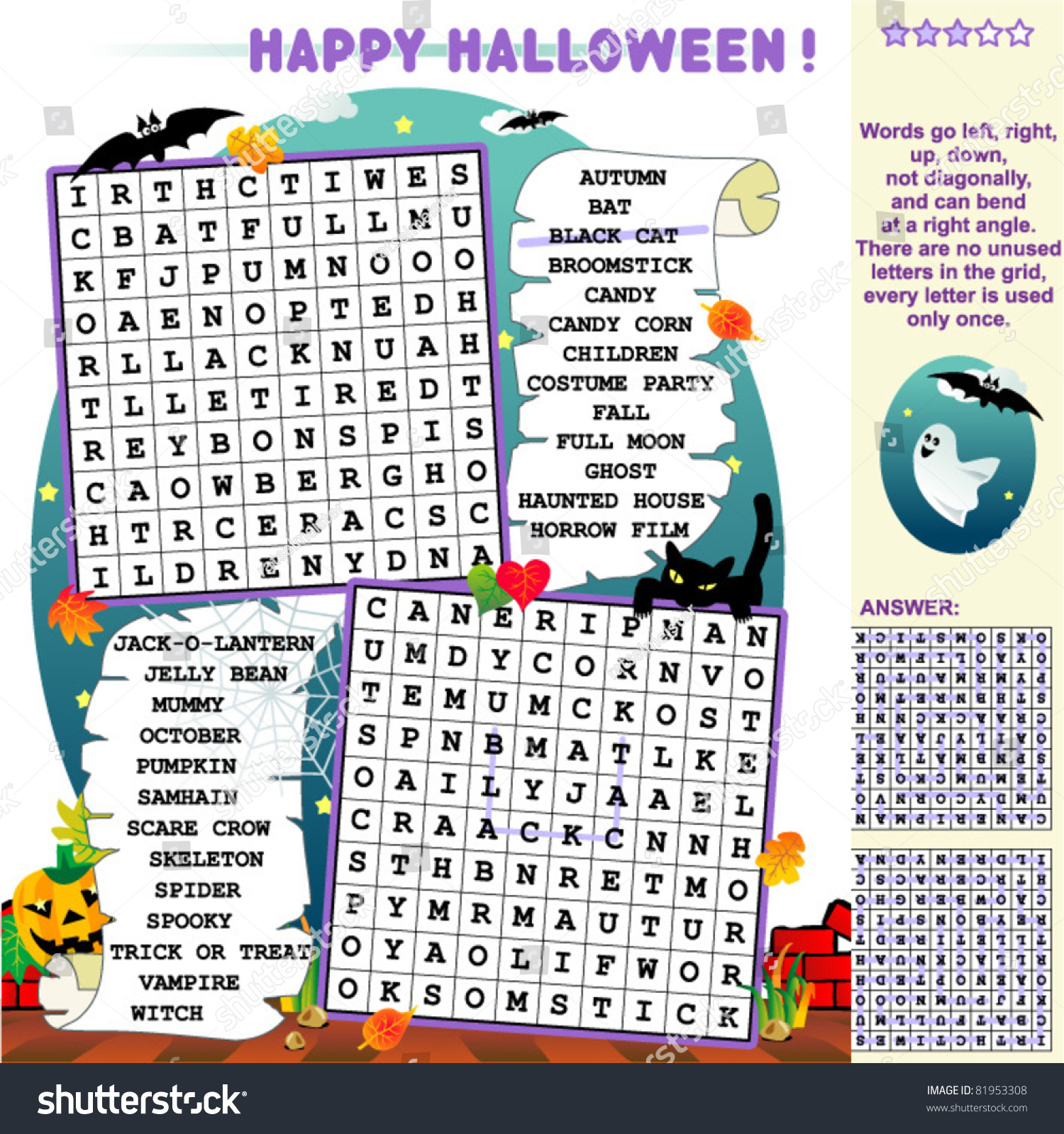 Halloween Holiday Zigzag Word Search Puzzle Answer Included Illustrated Jack O Lantern