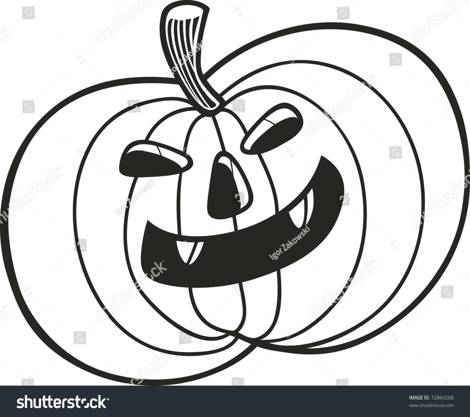 halloween pumpkin for coloring book stock vector illustration 72864268