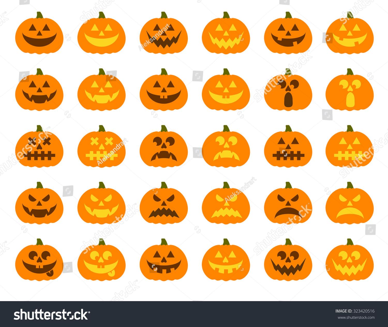 Halloween Pumpkin Vector 30 Icons Set