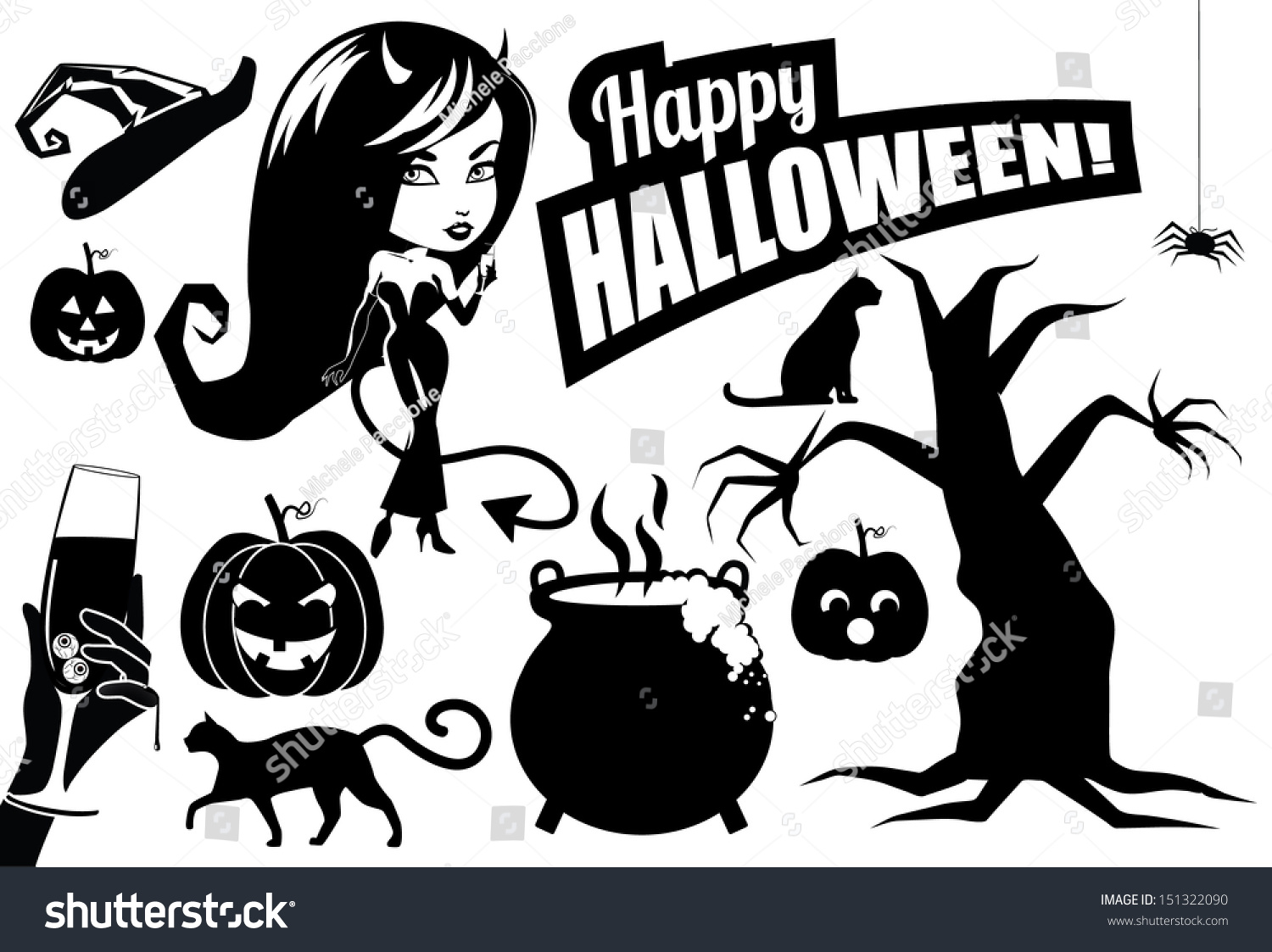 Halloween Silhouettes Collection Eps 10 Vector Stock