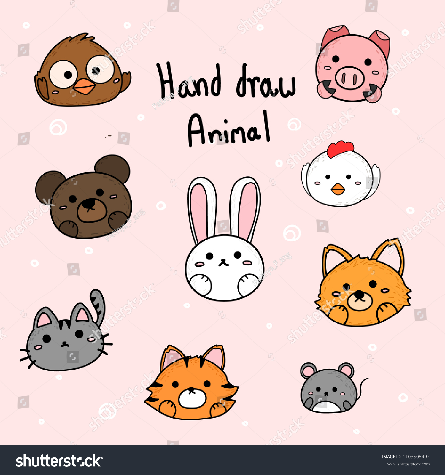 Hand Draw Cute Animal Head Vector Stock Vector Royalty Free 1103505497