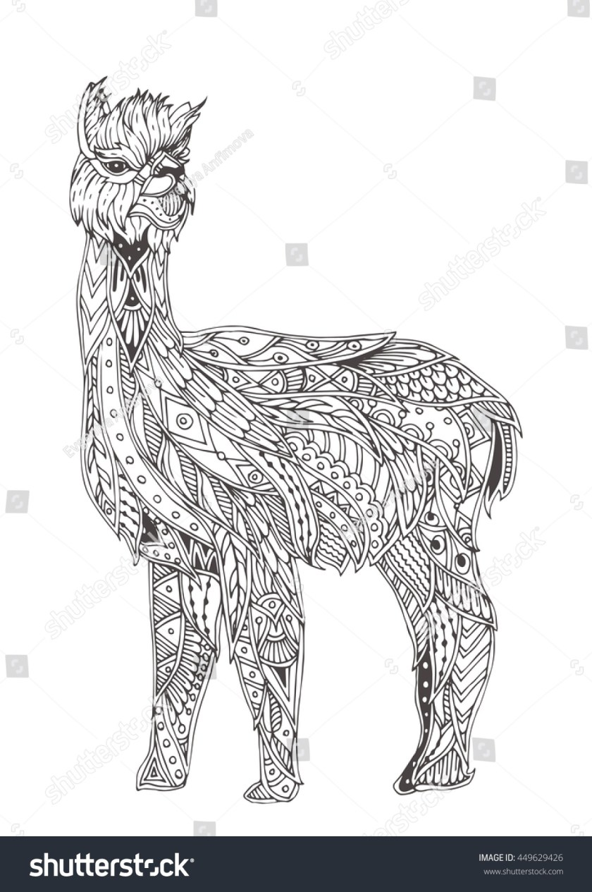 handdrawn alpaca ethnic floral doodle pattern stock vector