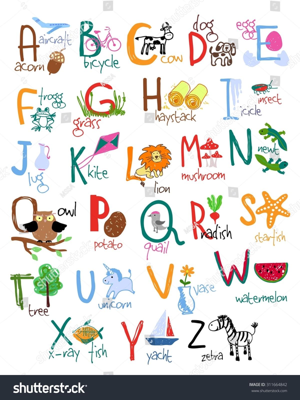 Hand Drawn Alphabet Words Icons Vector Stock Vector