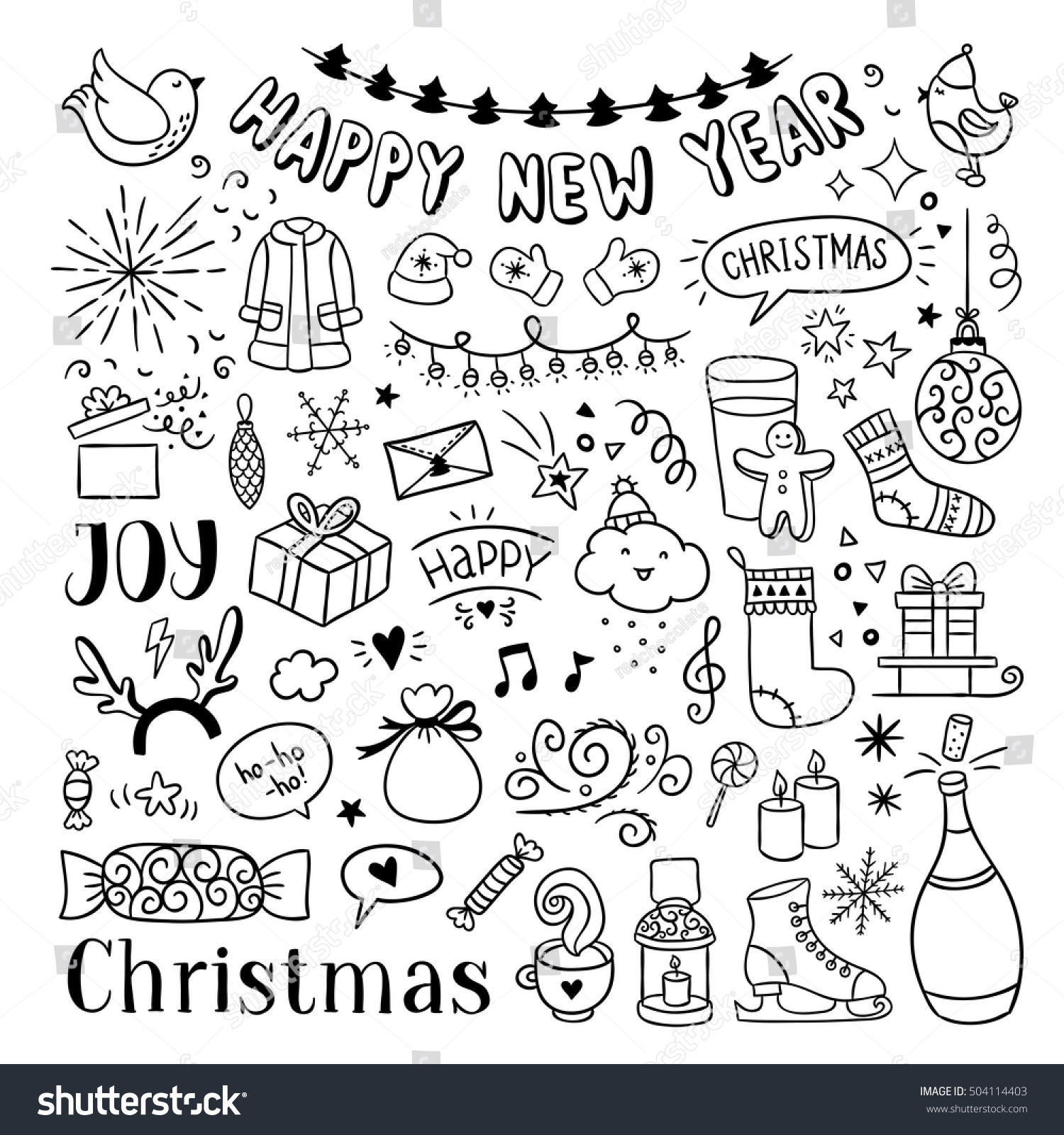 Hand Drawn Christmas New Year Doodles Stock Vector