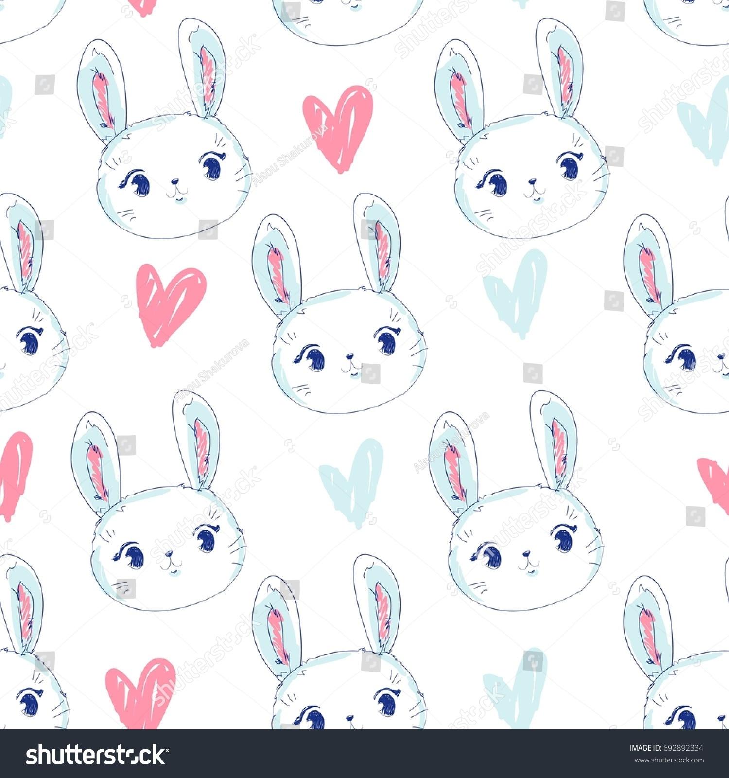 Hand Drawn Cute Bunny Vector Rabbit