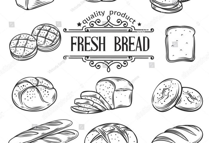 Hand Drawn Decorative Bread Bakery Vector Stock Vector Royalty Free