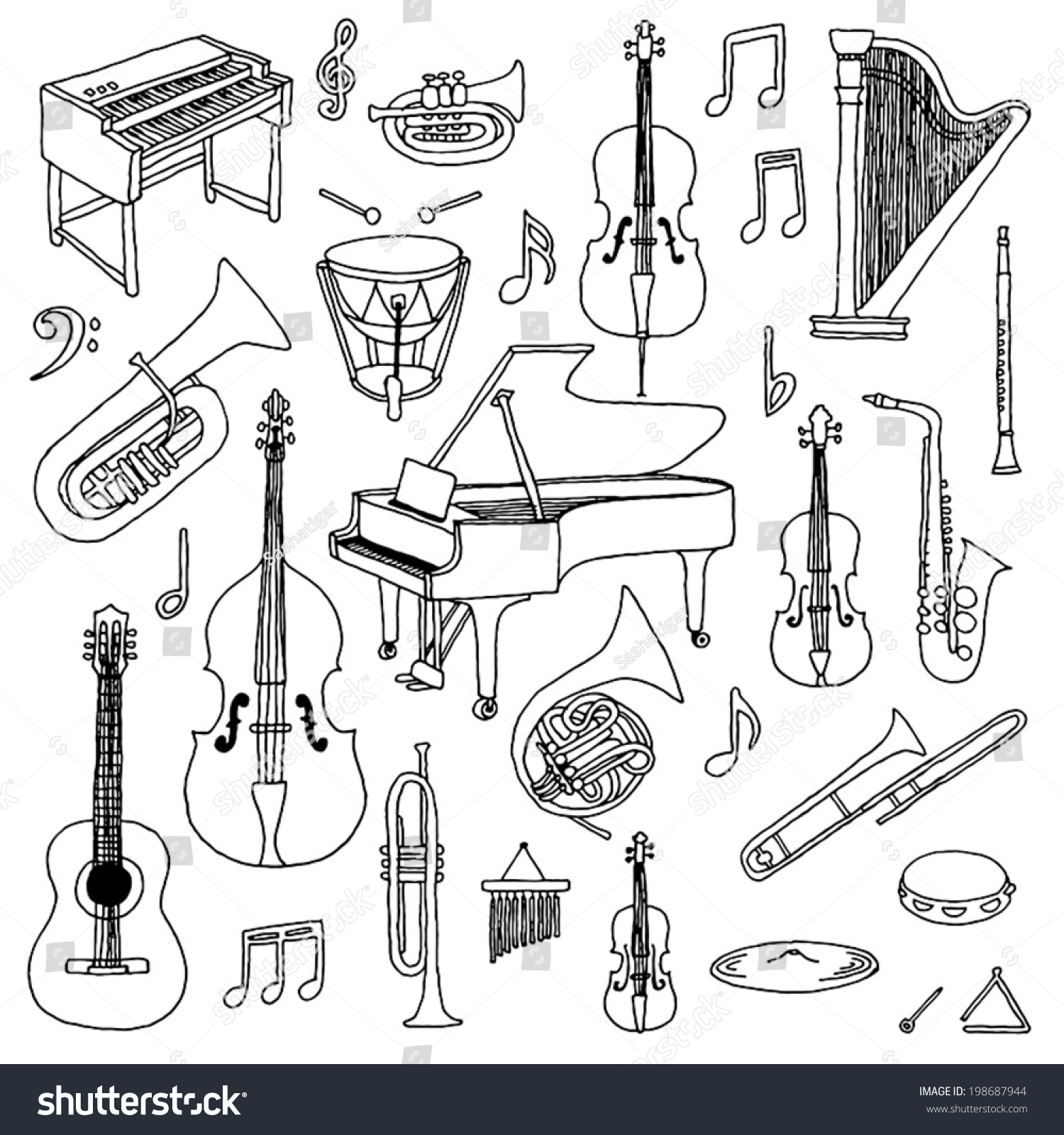 Hand Drawn Doodle Musical Instruments Classical Stock Vector