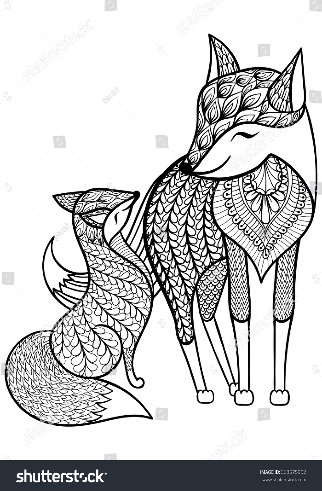 Hand Drawn Fox Young Child Pattern Stock Vector