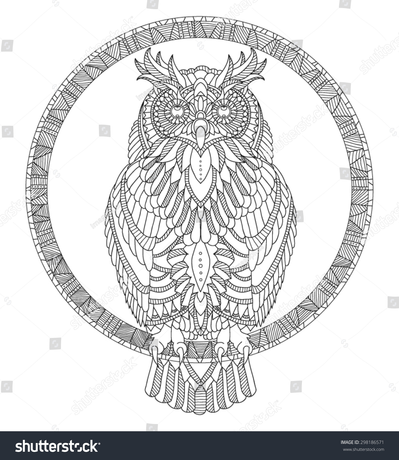 Hand Drawn Owl Coloring Page Stock Vector Royalty Free 298186571
