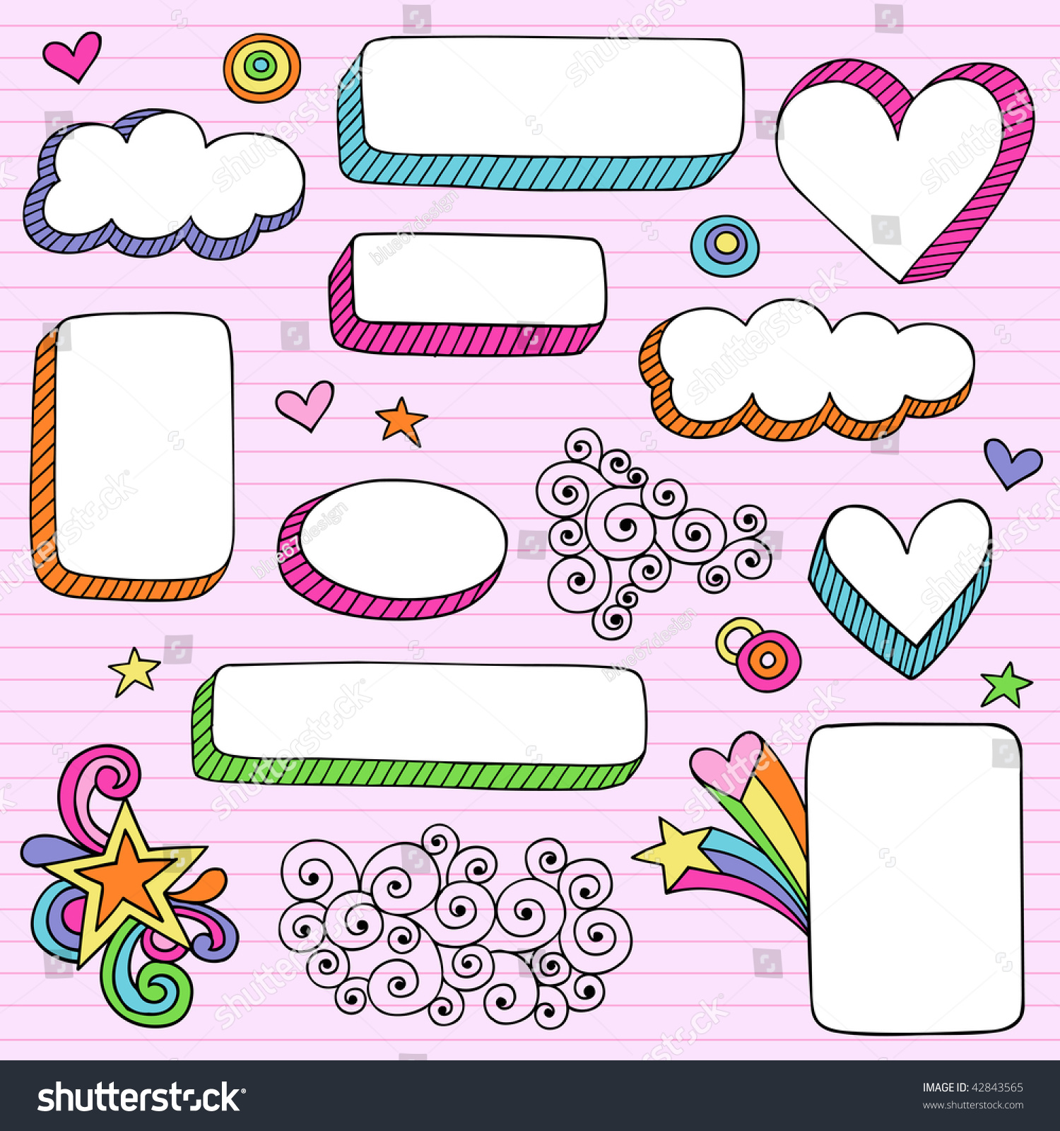 Handdrawn Psychedelic Notebook Doodles 3d Frame Stock